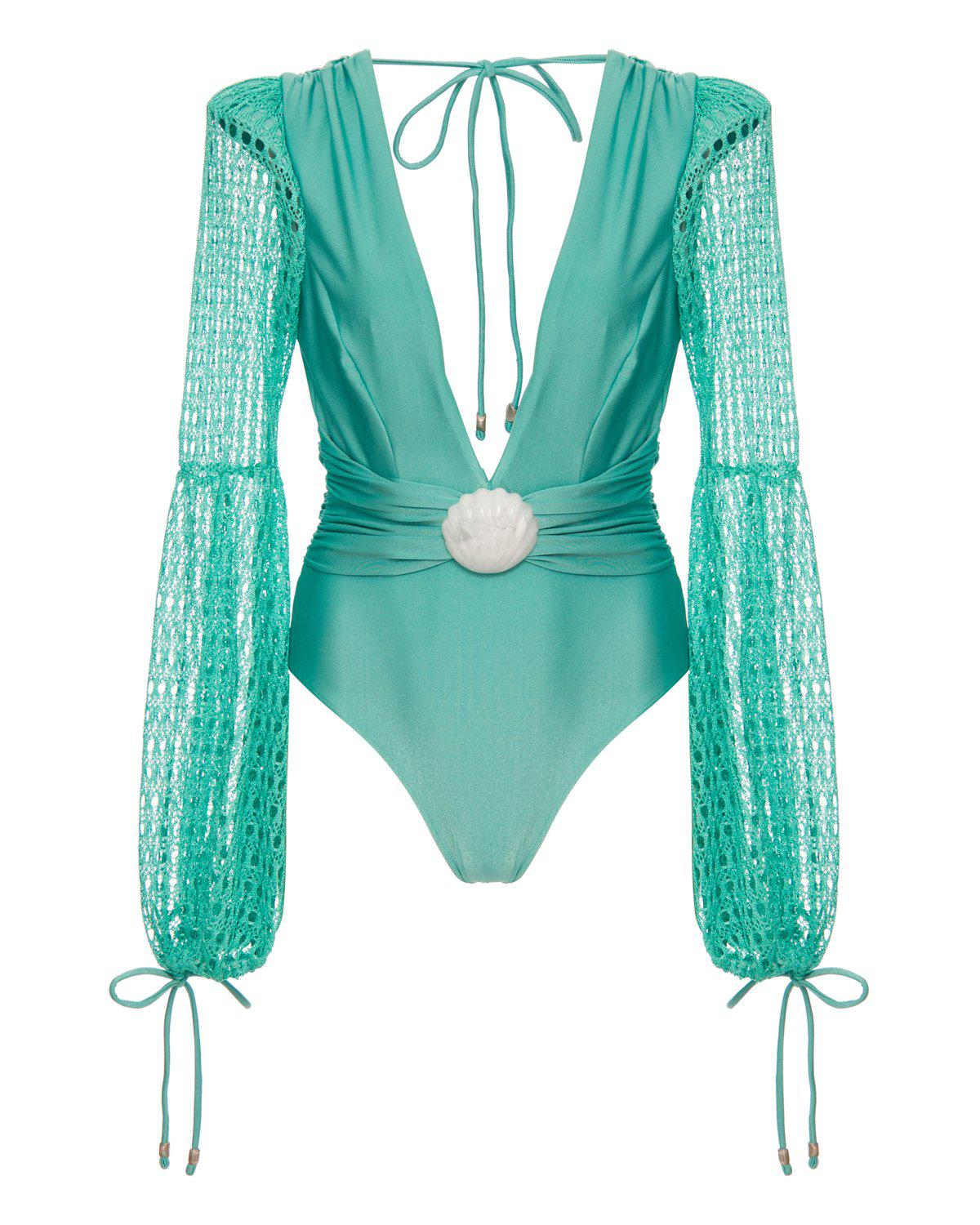 NETTED SLEEVE SWIMSUIT 1
