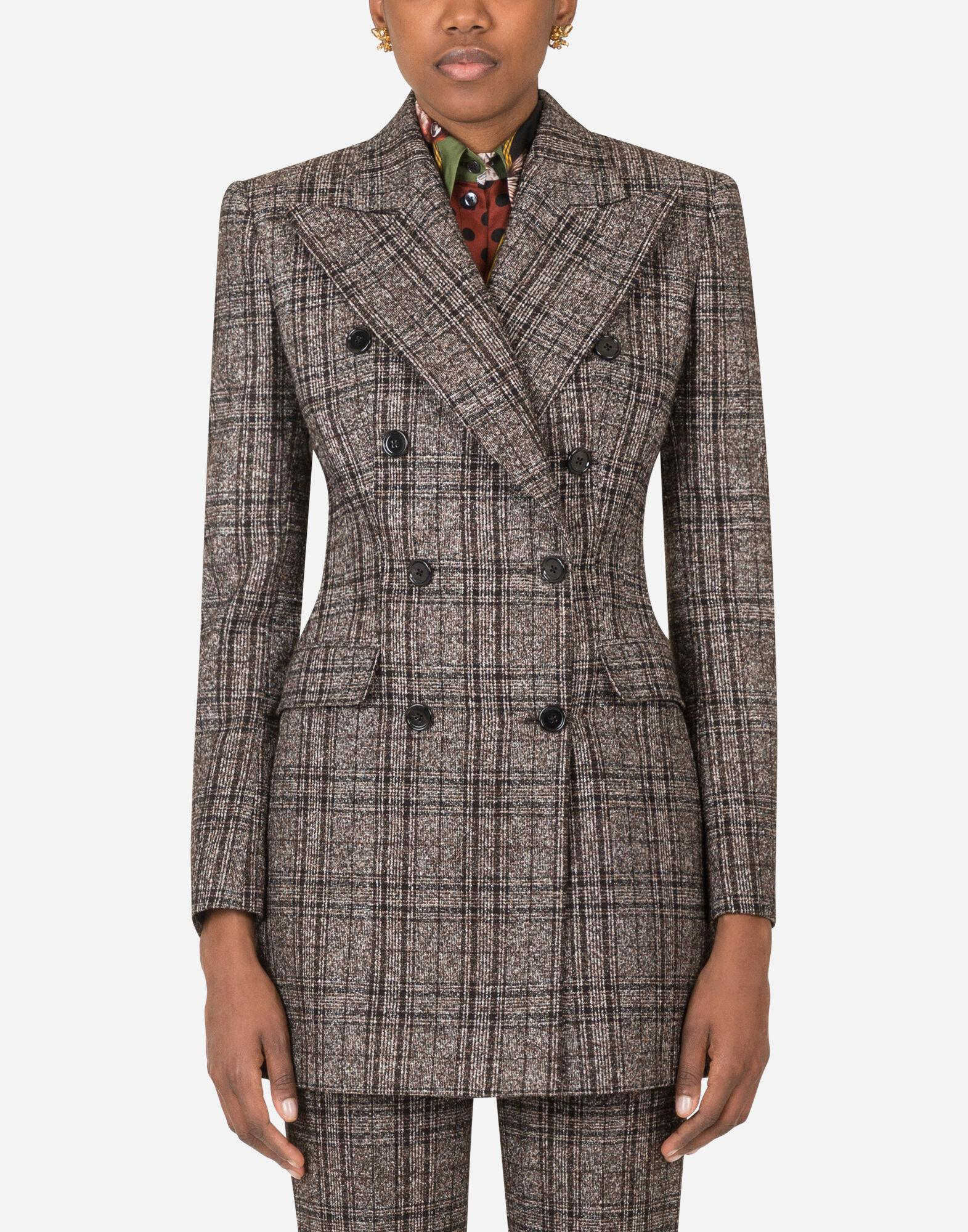 Double-breasted jacket in checked tartan