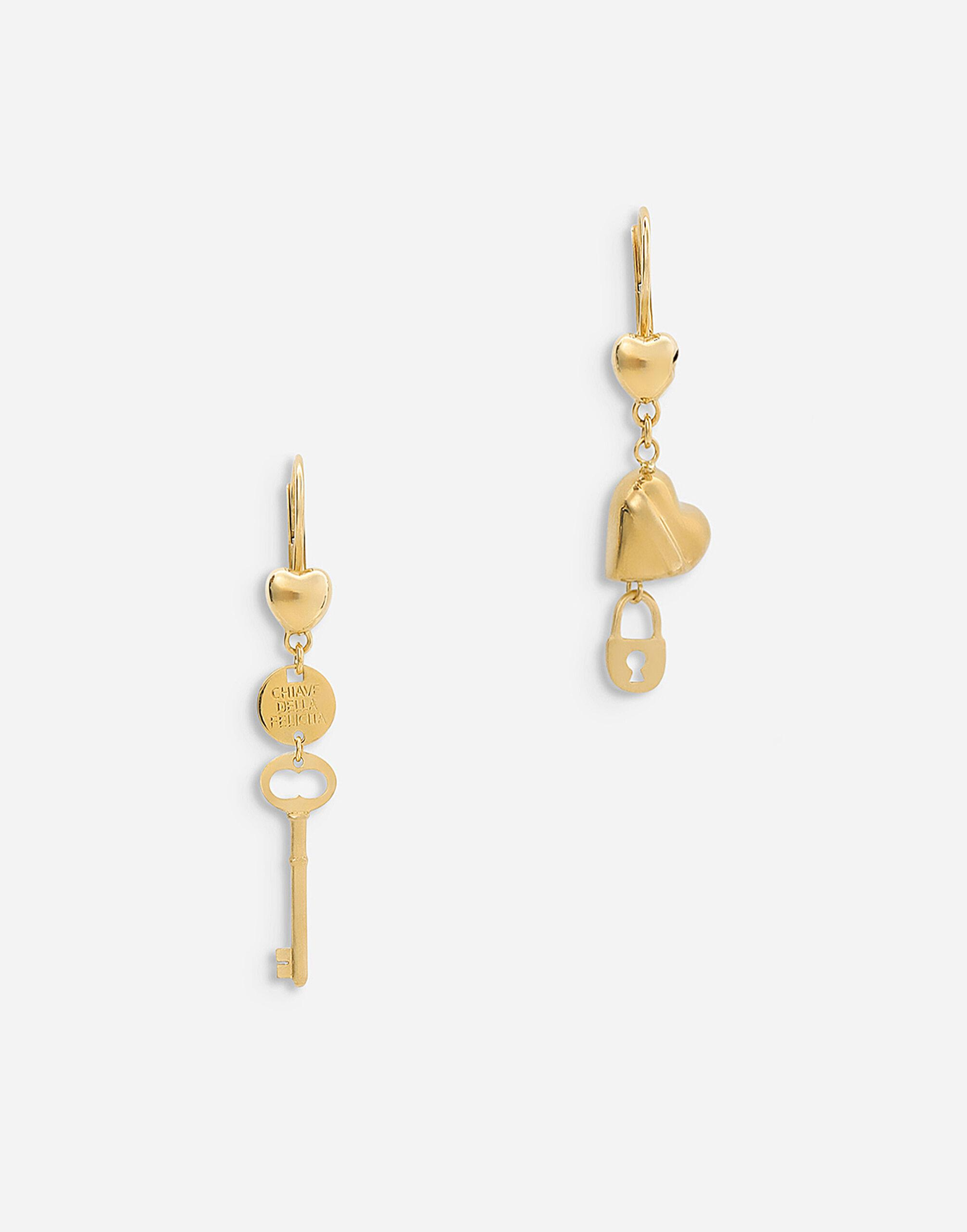 Good Luck earrings in yellow 18kt gold with heart, padlock and key