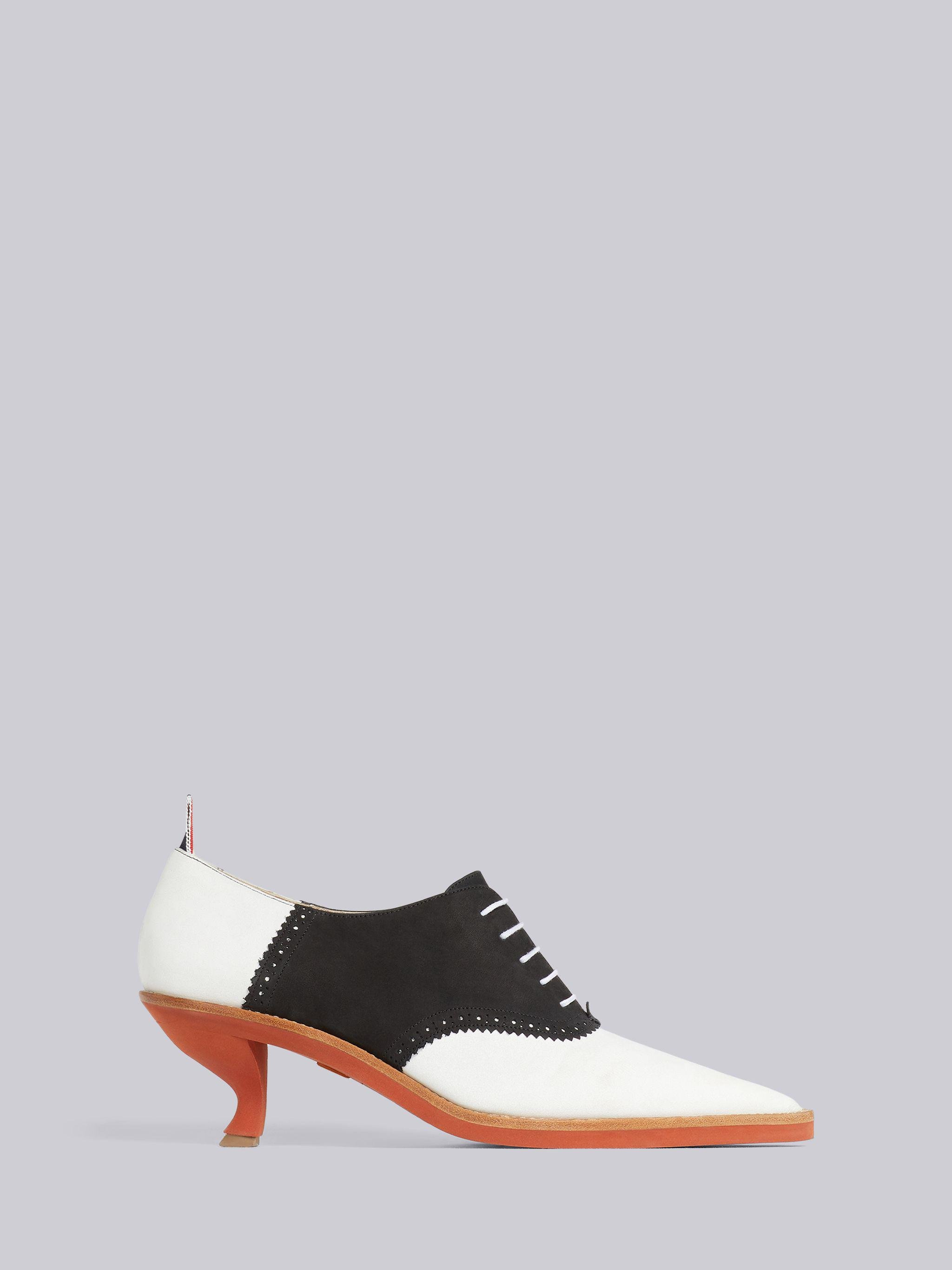 Black and White Suede 50mm Curved Heel Micro Sole Saddle Shoe