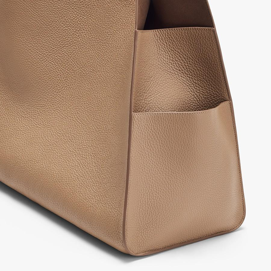 Women's Oversized Double Loop Bag in Cappuccino | Pebbled Leather by Cuyana 2