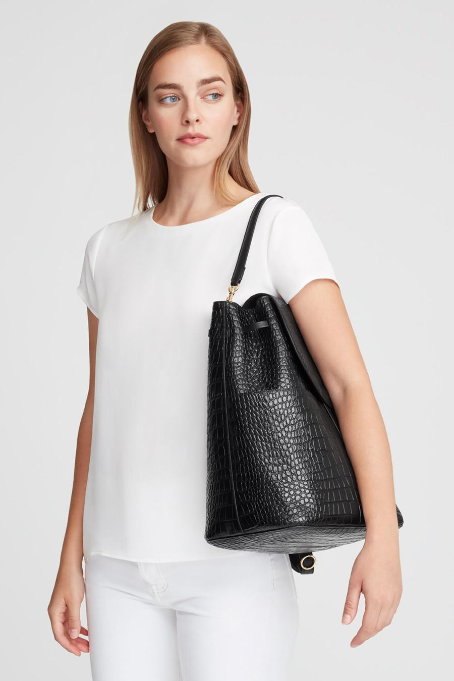 Women's Large Leather Backpack in Textured Black | Croc-Embossed by Cuyana 7