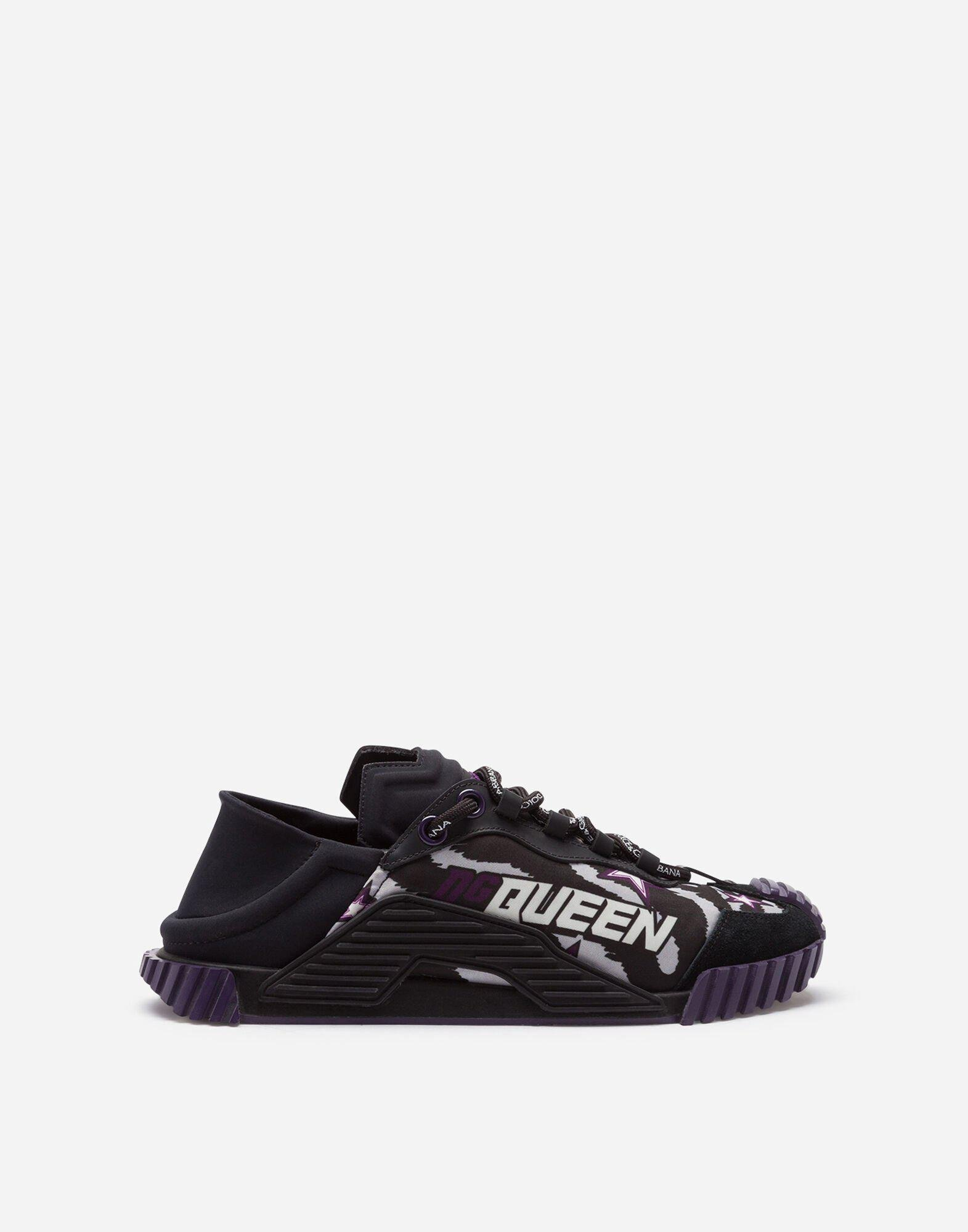 Slip-on NS1 sneakers in mixed materials with jungle print and purple bottom