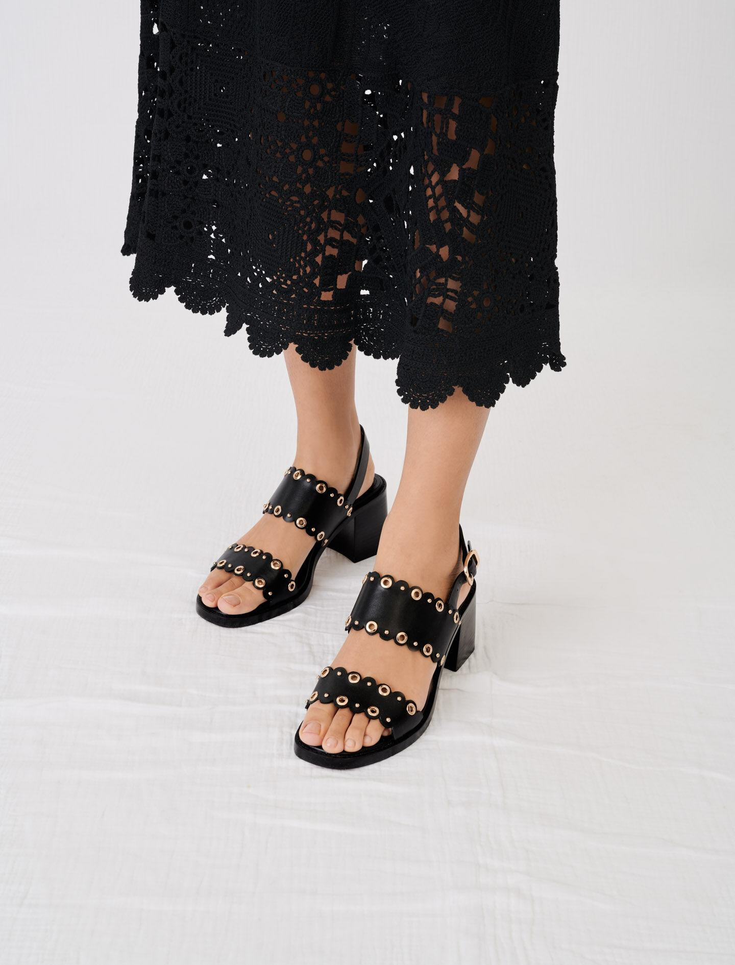 HIGH-HEELED LEATHER SANDALS WITH EYELETS 5