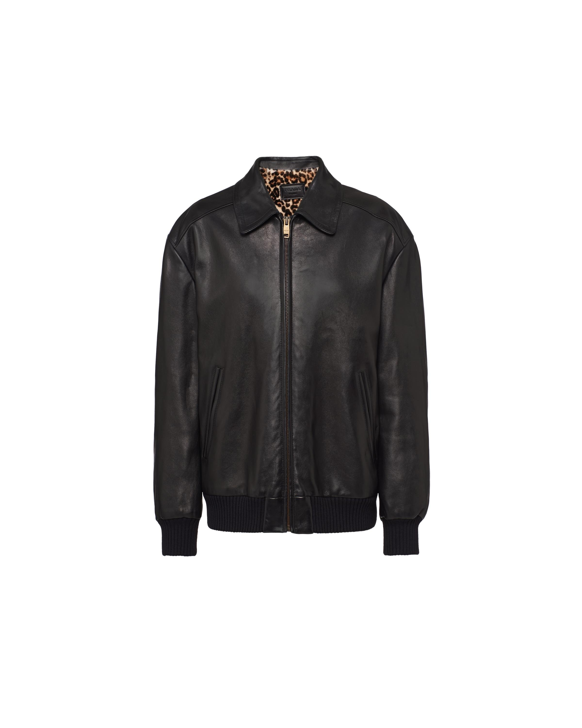 Nappa Leather And Shearling Bomber Jacket Women Black 5