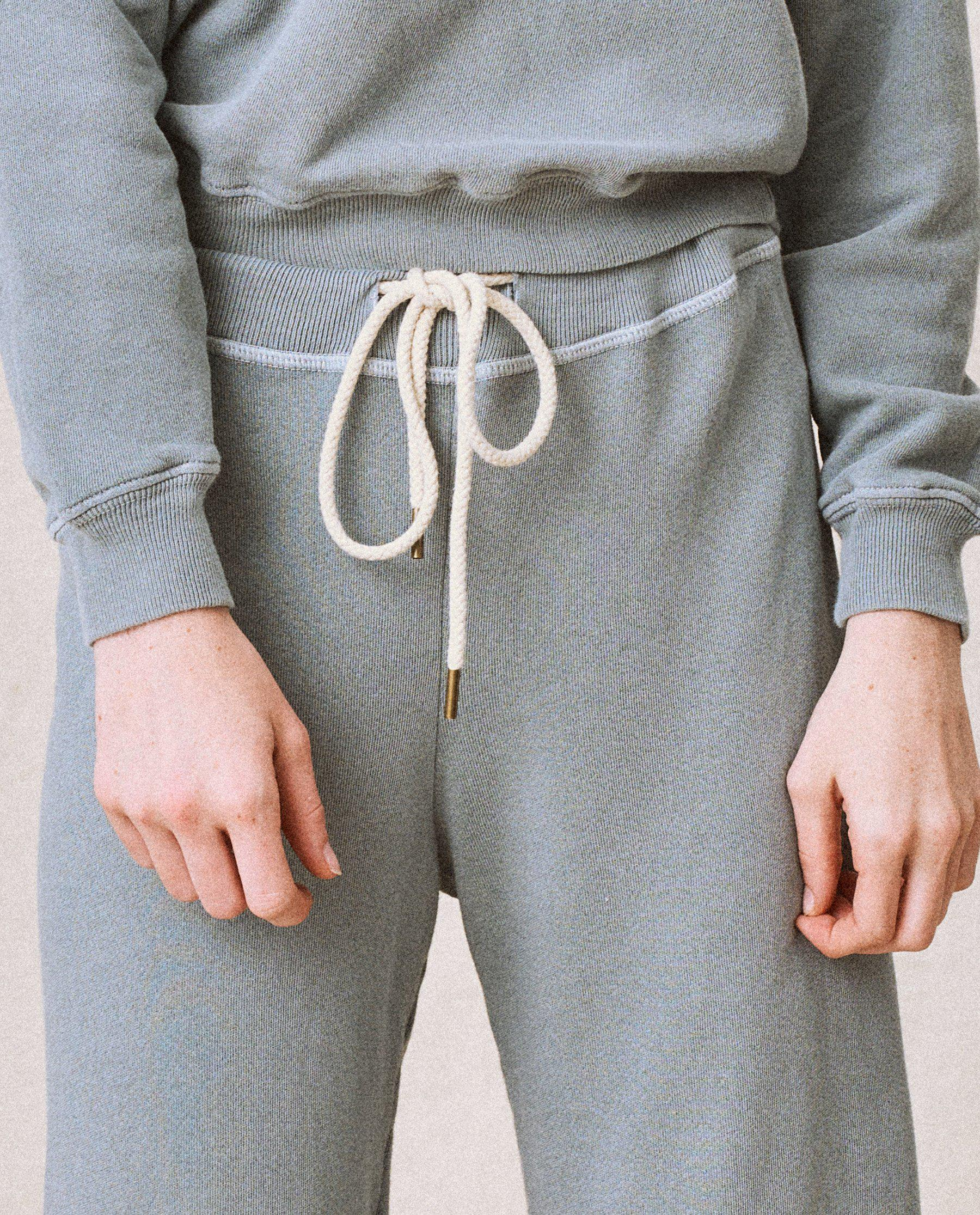 The Wide Leg Cropped Sweatpant. -- Dusty Blue 3