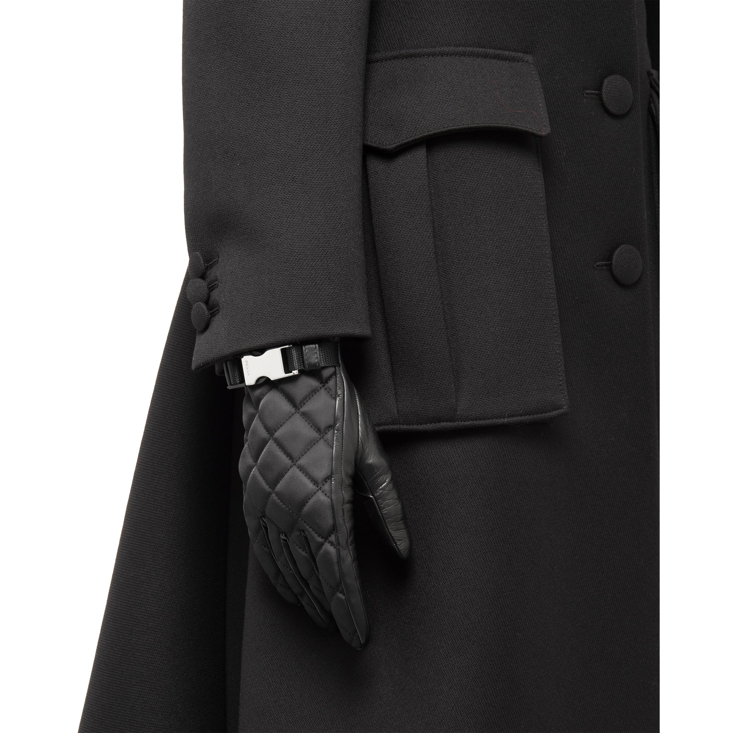 Quilted Nylon And Nappa Leather Gloves Women Black 1