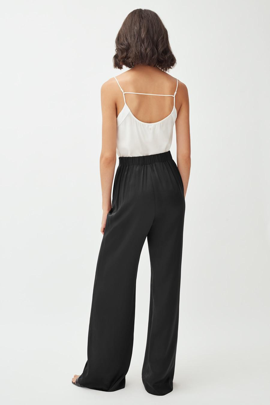 Women's Charmeuse Wide-Leg Pant in Black | Size: Large | Silk Charmeuse by Cuyana 2