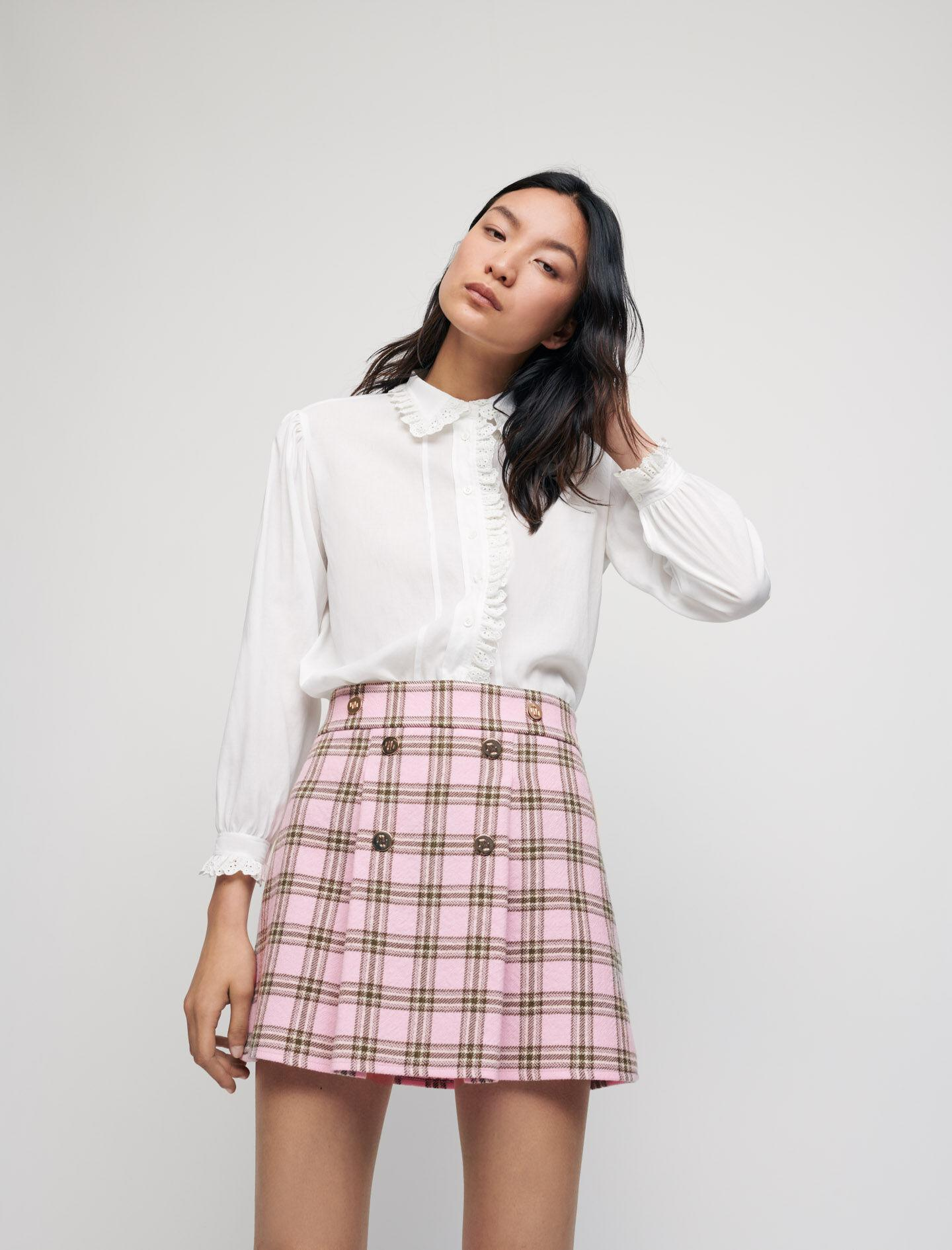 CHECKED PLEATED SKIRT 3