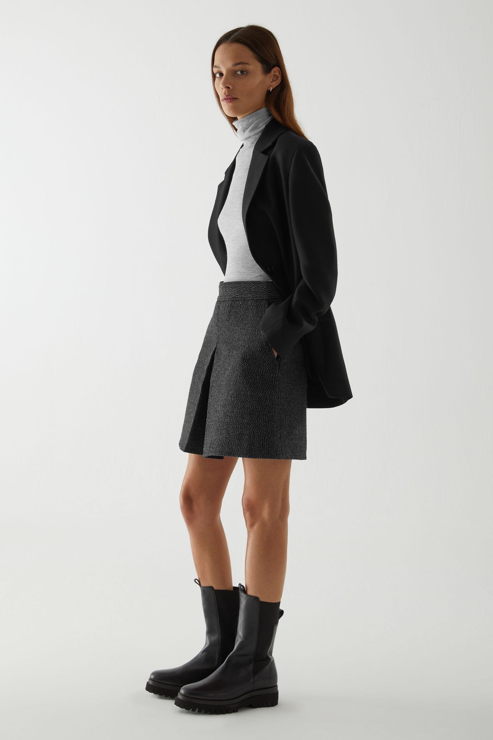PLEATED A-LINE WOOL-CASHMERE MINI SKIRT