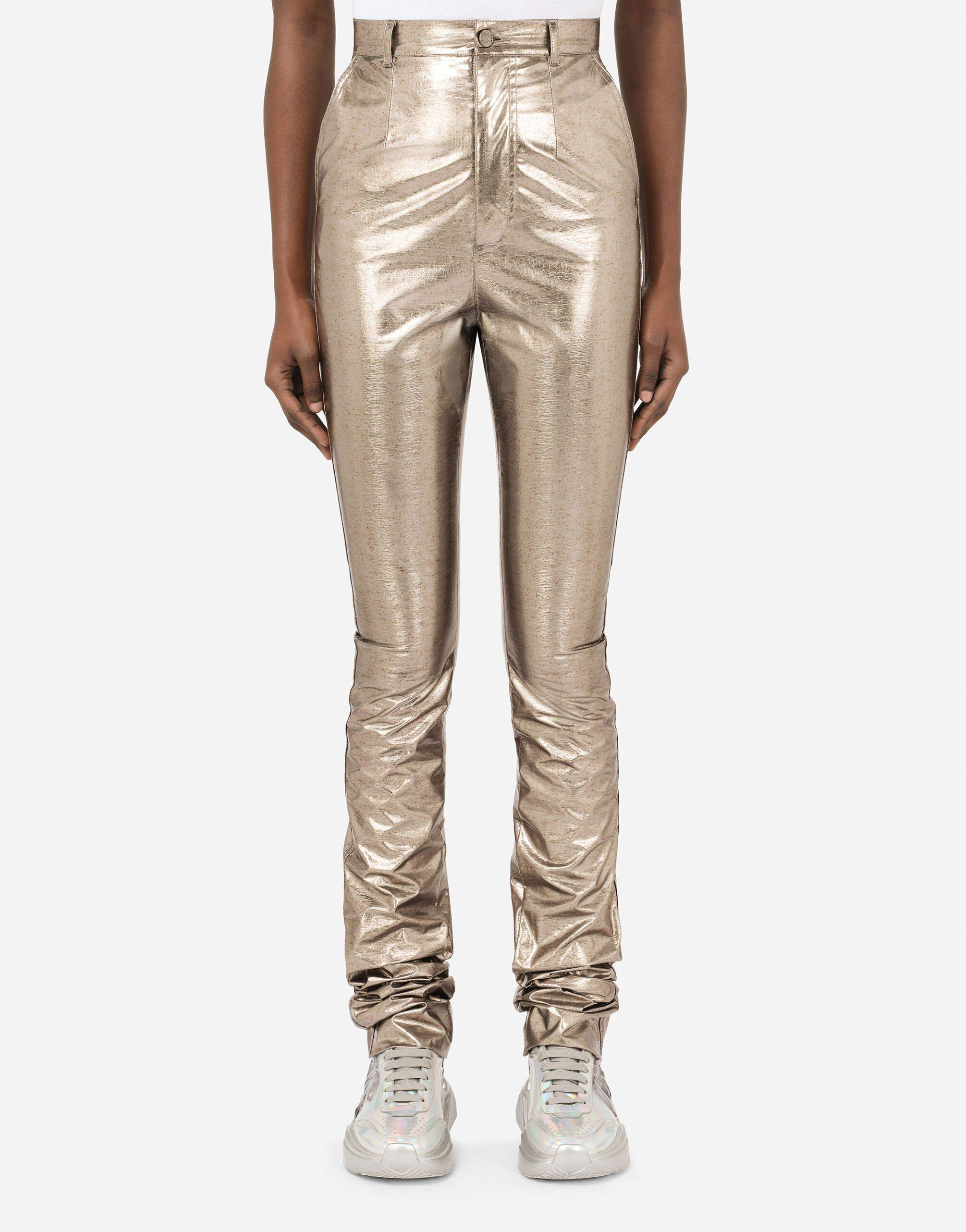 Foiled fabric pants with draping
