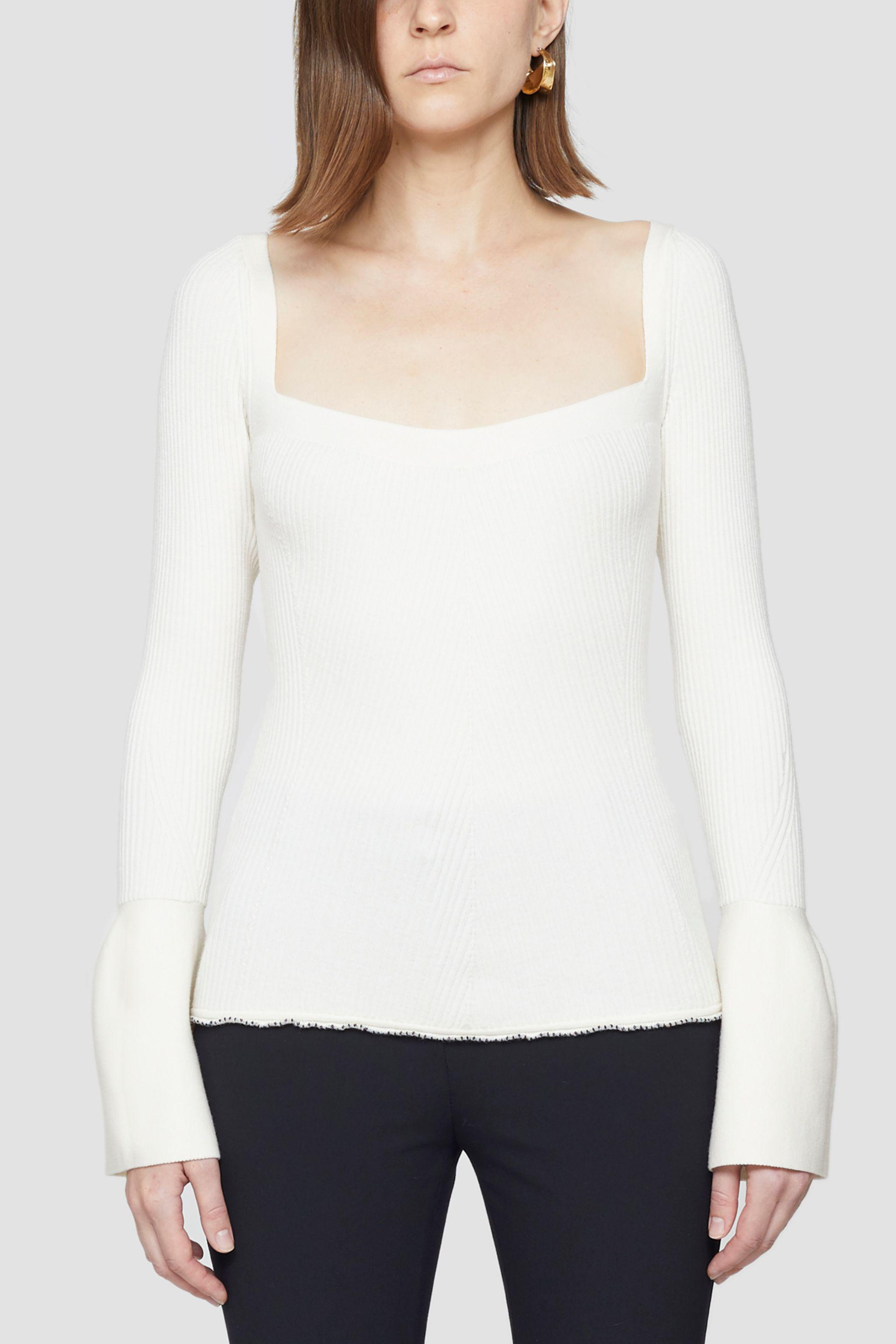 Open Neck Ribbed Sweater