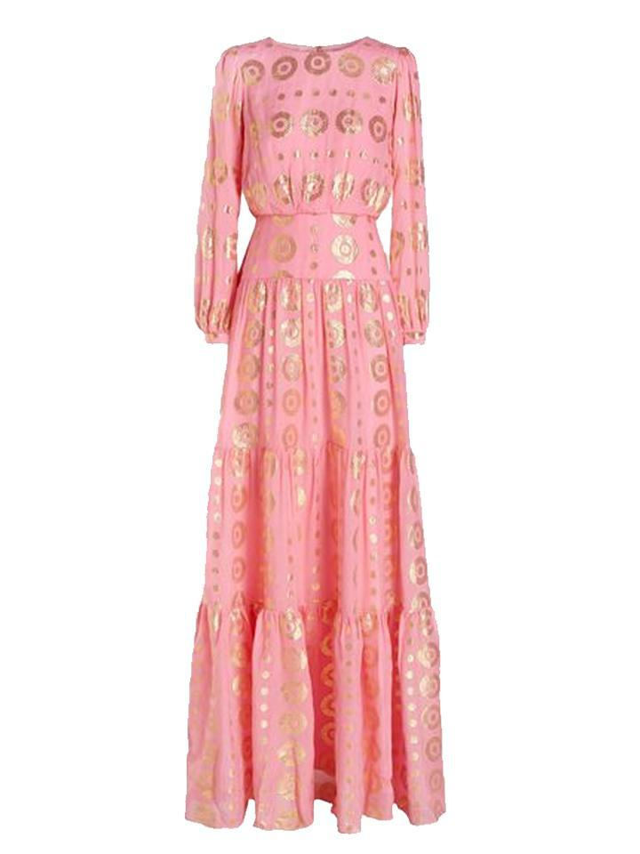 Isabel Long Dress in Rose Pink and Gold