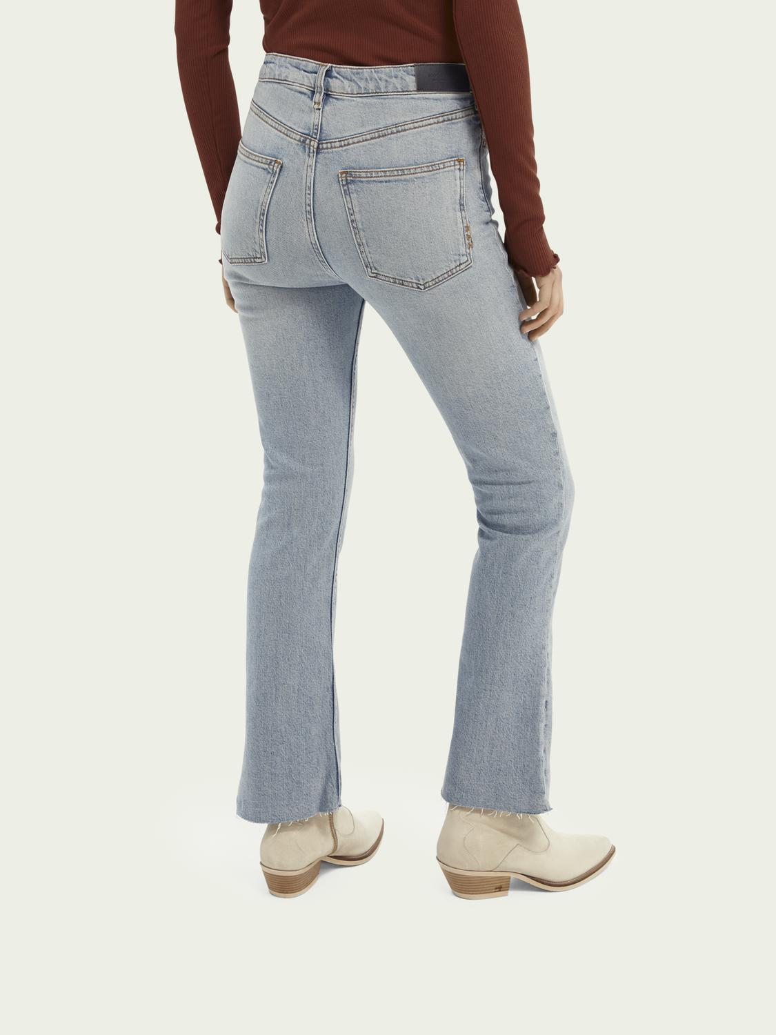 High-rise cropped flare denim trousers 2