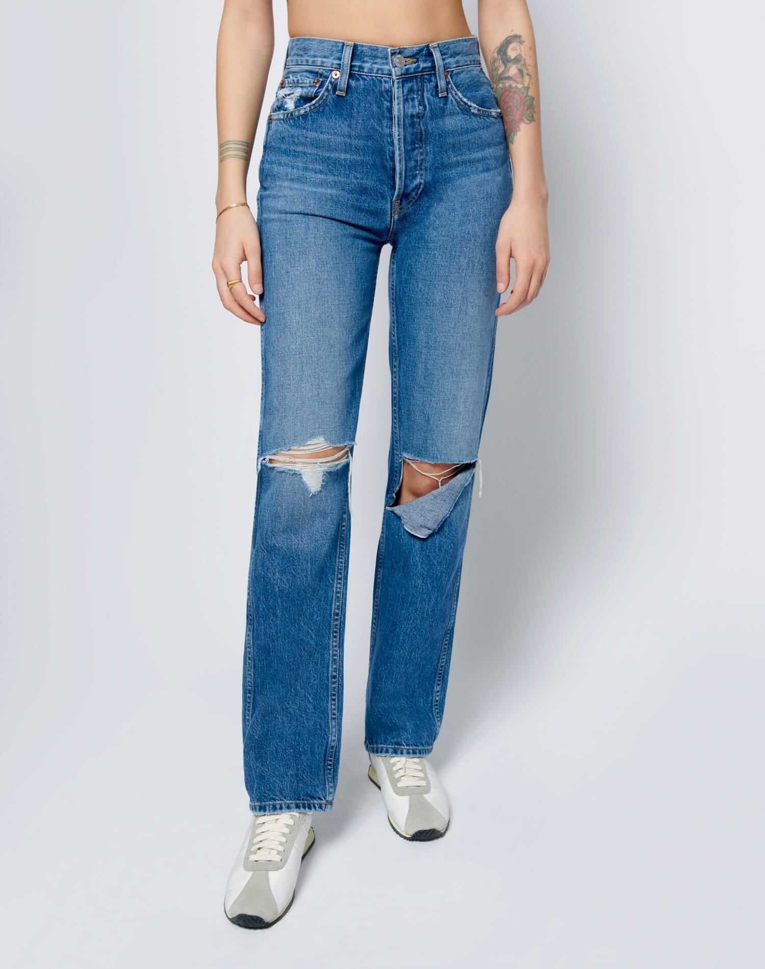 High Rise Loose - Washed Indigo with Rips