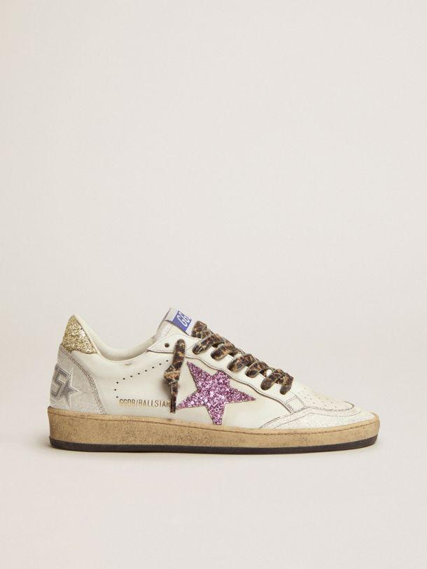 Ball Star LTD sneakers in white leather with colored glitter heel tab and star