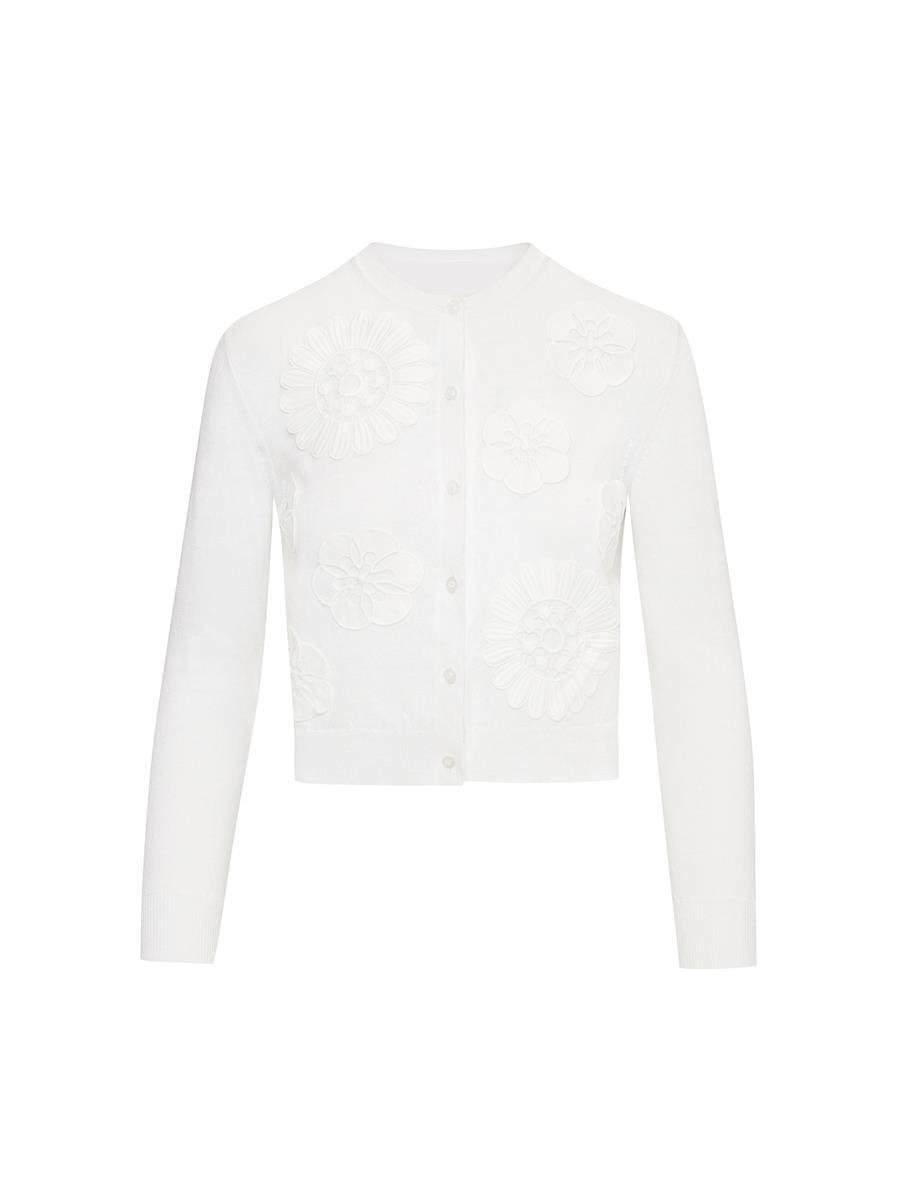 EMBROIDERED IVORY KNIT CARDIGAN 4