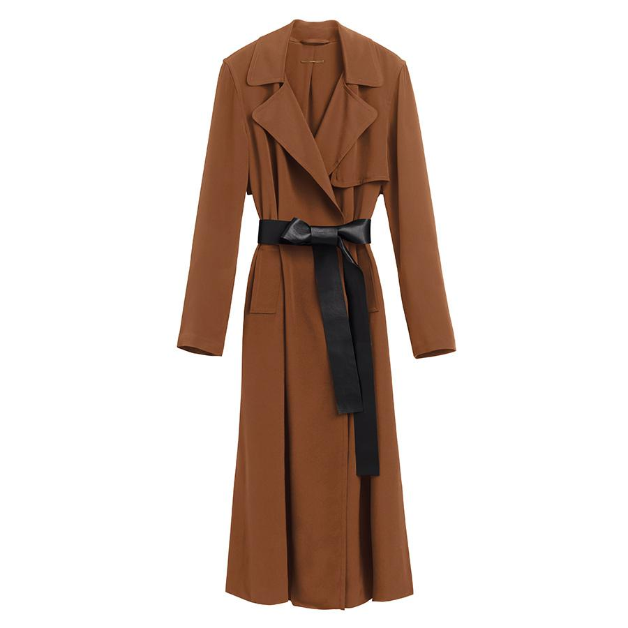 Women's Silk Classic Trench in Chestnut | Size: