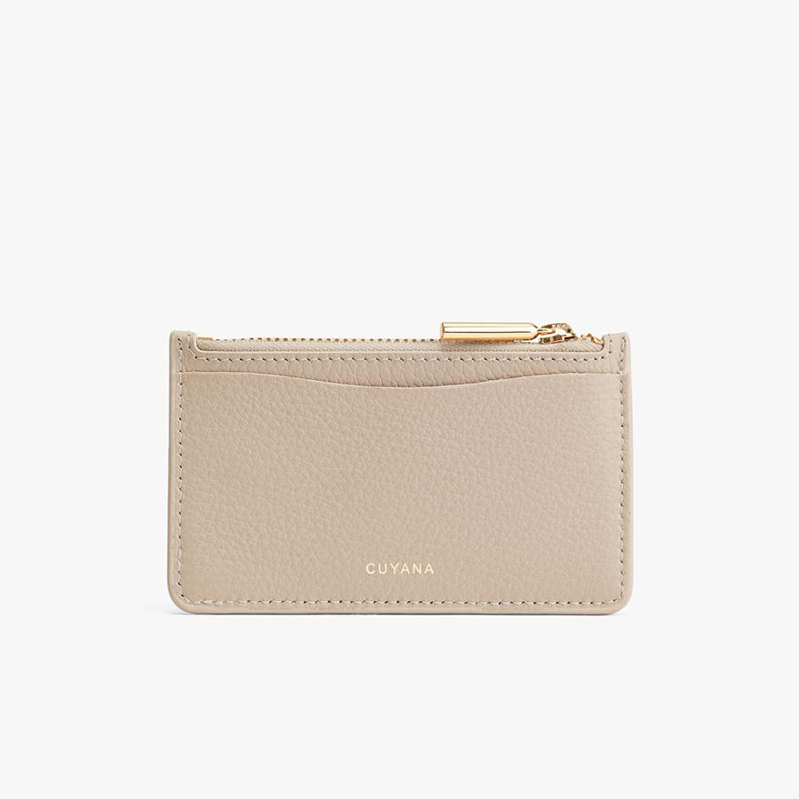 Women's Zip Cardholder in Light Stone | Pebbled Leather by Cuyana