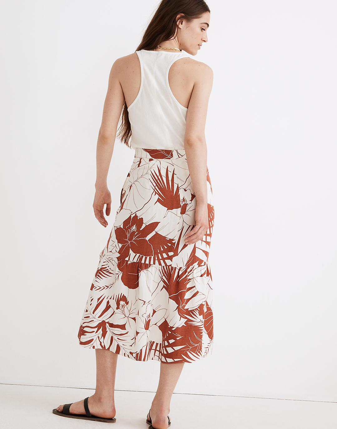 Linen-Blend Ruffle-Wrap Midi Skirt in Tropical Vacation 2