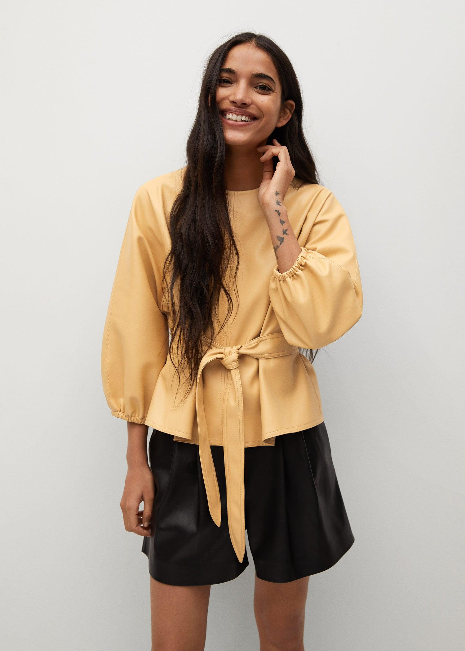 Leather-effect blouse with belt