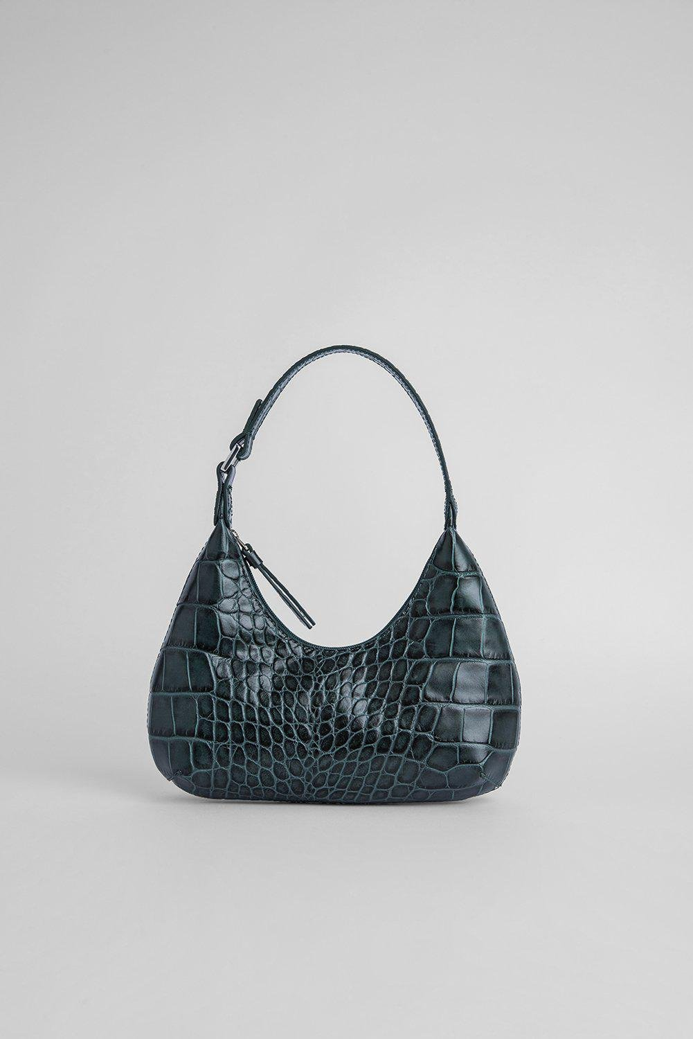 Baby Amber Green Croco Embossed Leather