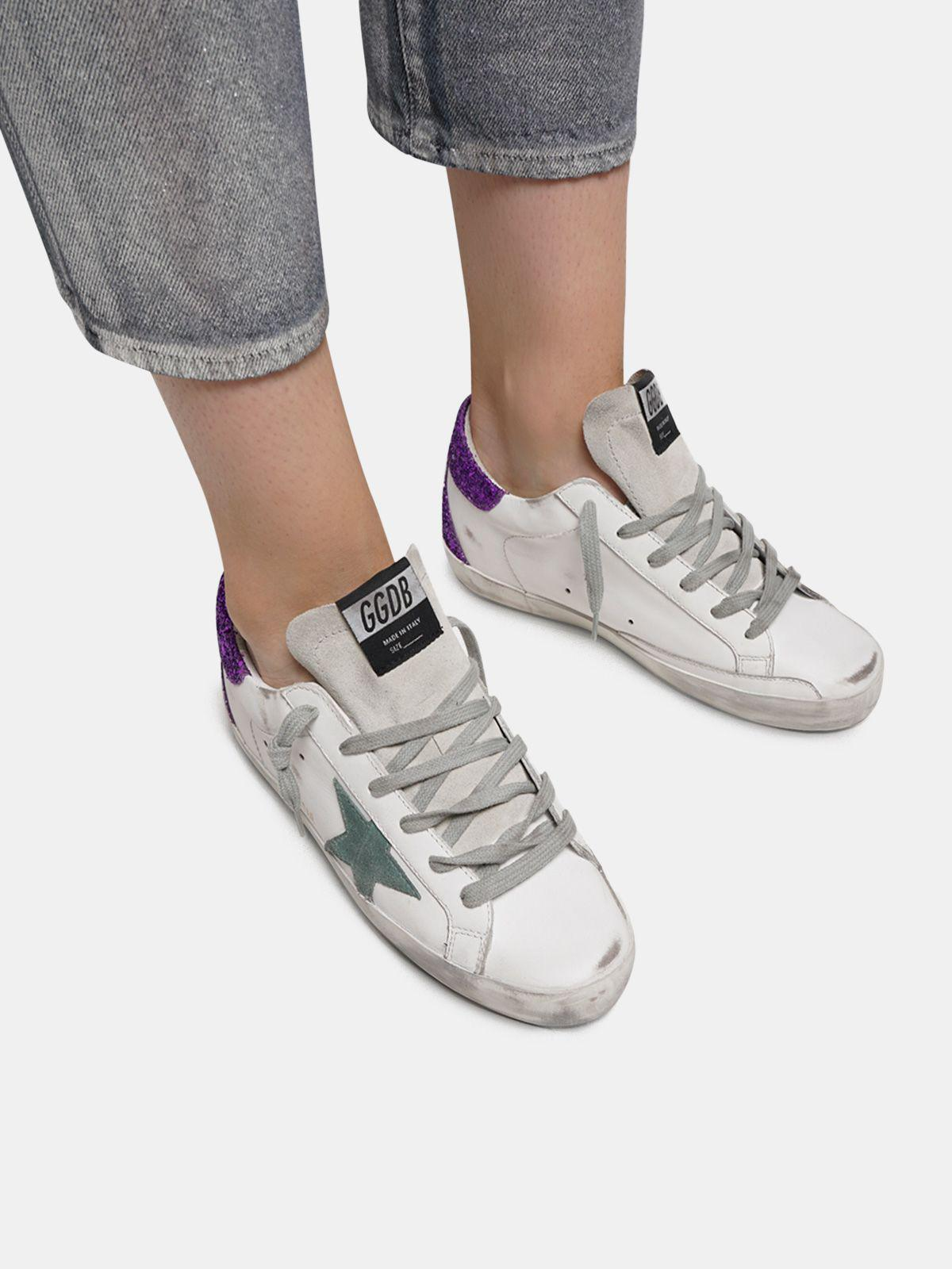 White Super-Star sneakers with glittery purple rear 4