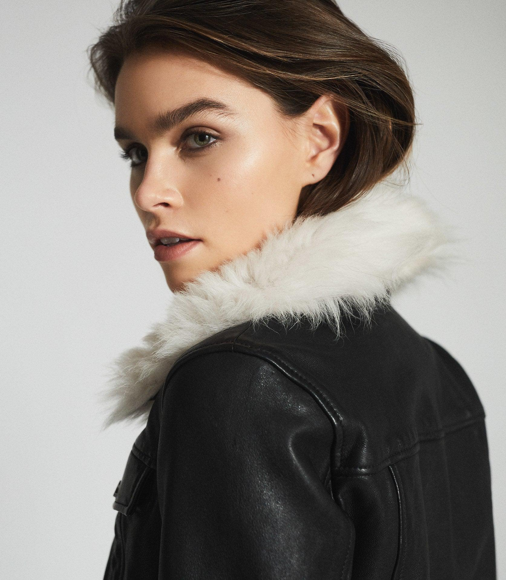 SHELLIE - LEATHER JACKET WITH SHEARING COLLAR 2