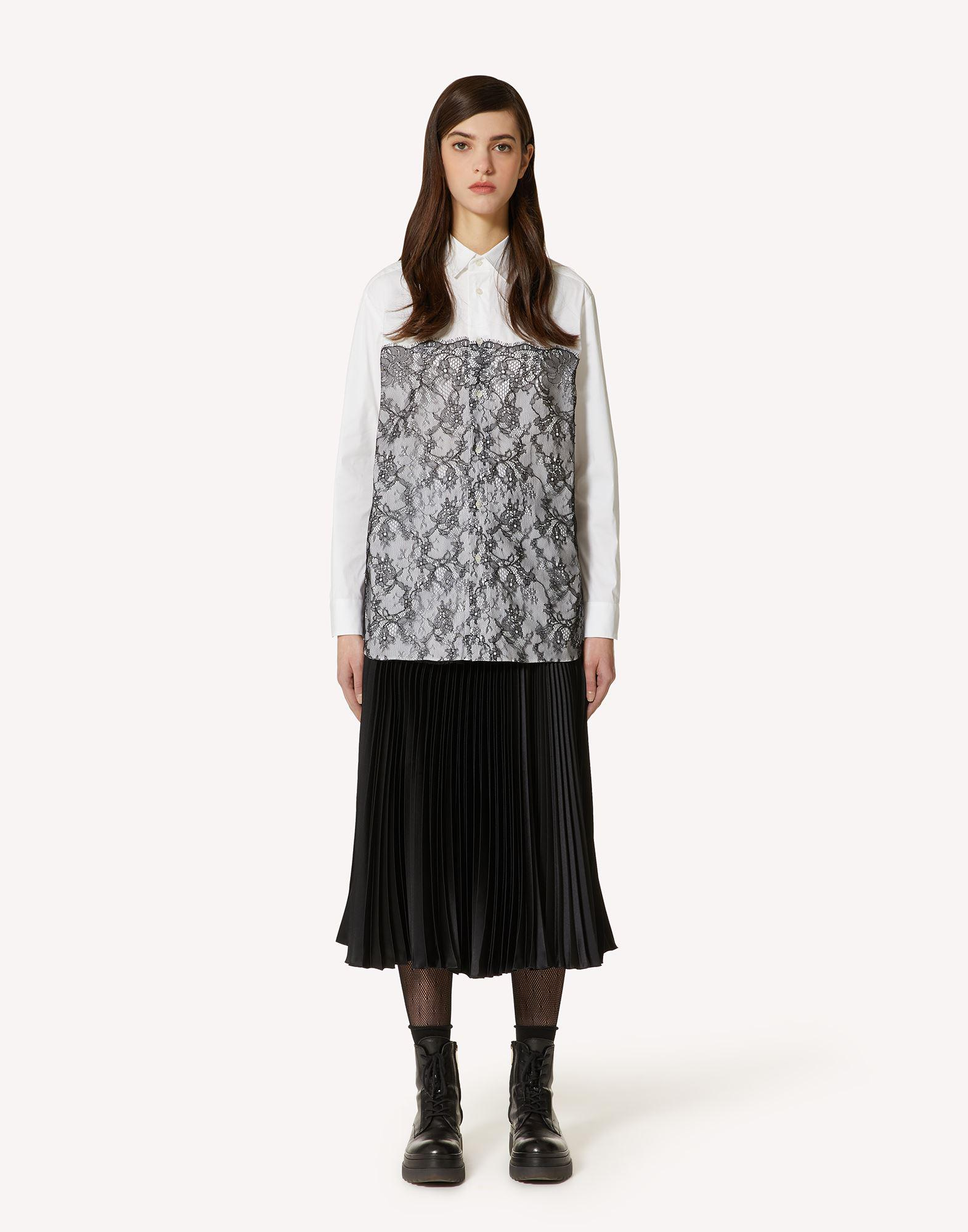 COTTON POPLIN AND LACE SHIRT