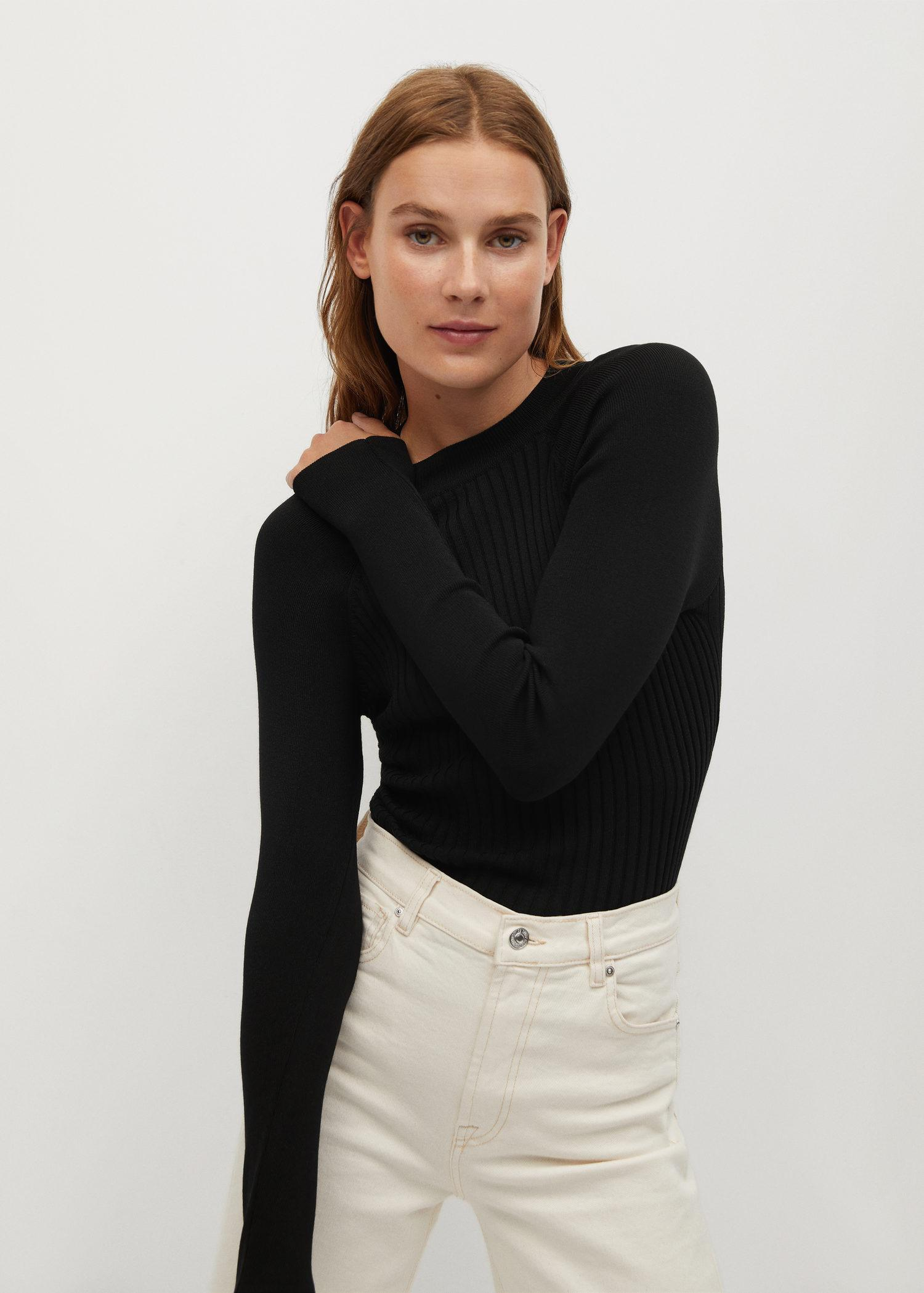 Ribbed fine-knit sweater