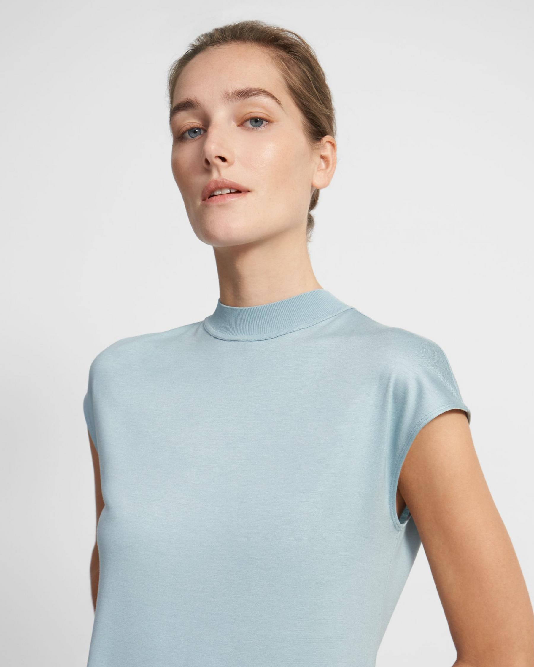 Ribbed Neck Top in Silk Jersey 0
