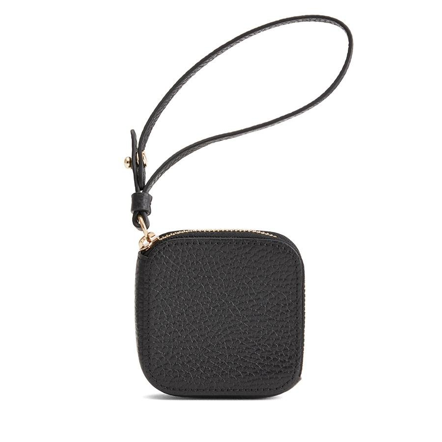 Women's Leather Airpod Case in Black   Pebbled Leather by Cuyana