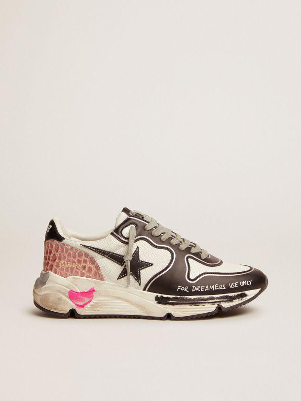 Running Sole sneakers in white snake-print leather with contrasting black details