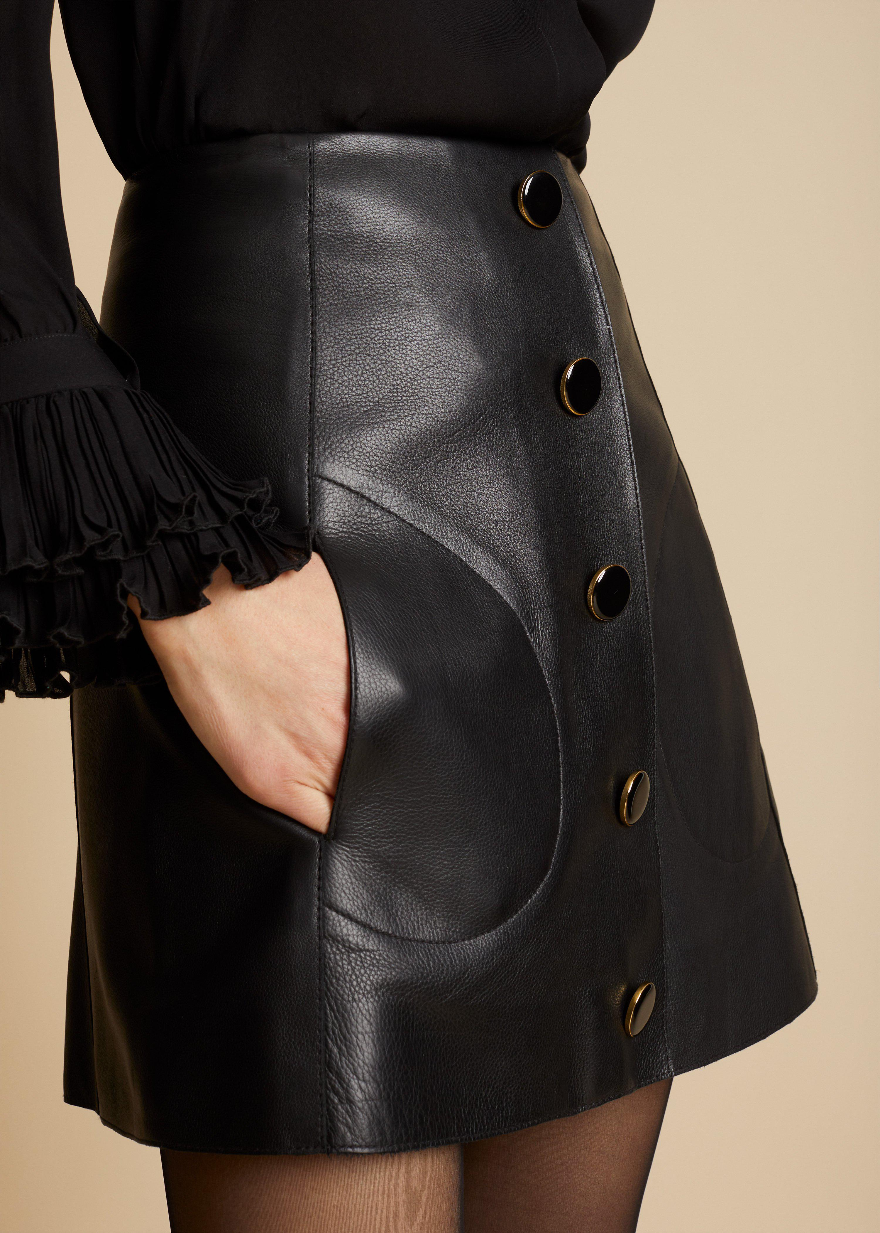 The Sam Skirt in Black Leather 4