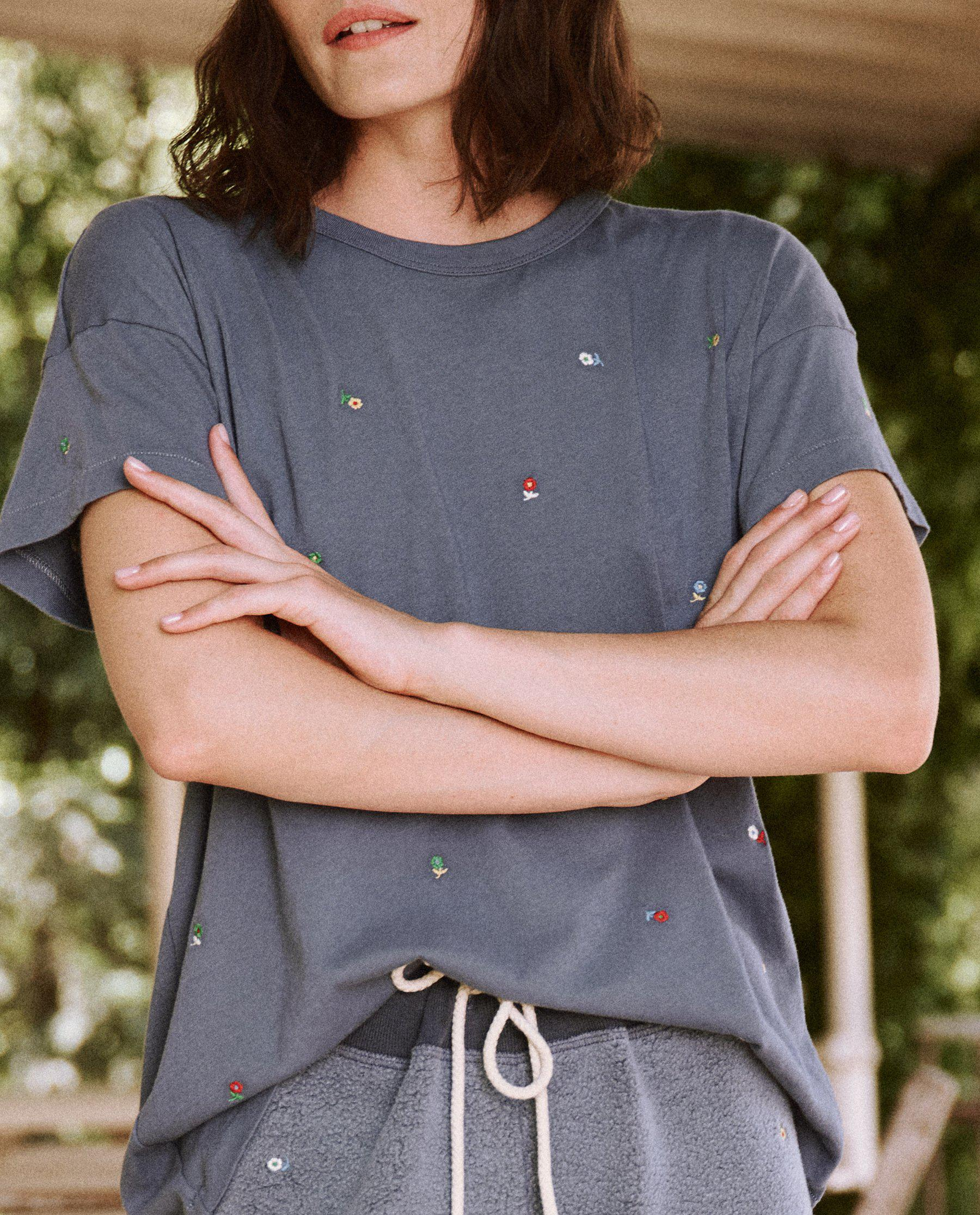 The Boxy Crew. Embroidered -- Vintage Navy with Ditsy Floral Embroidery