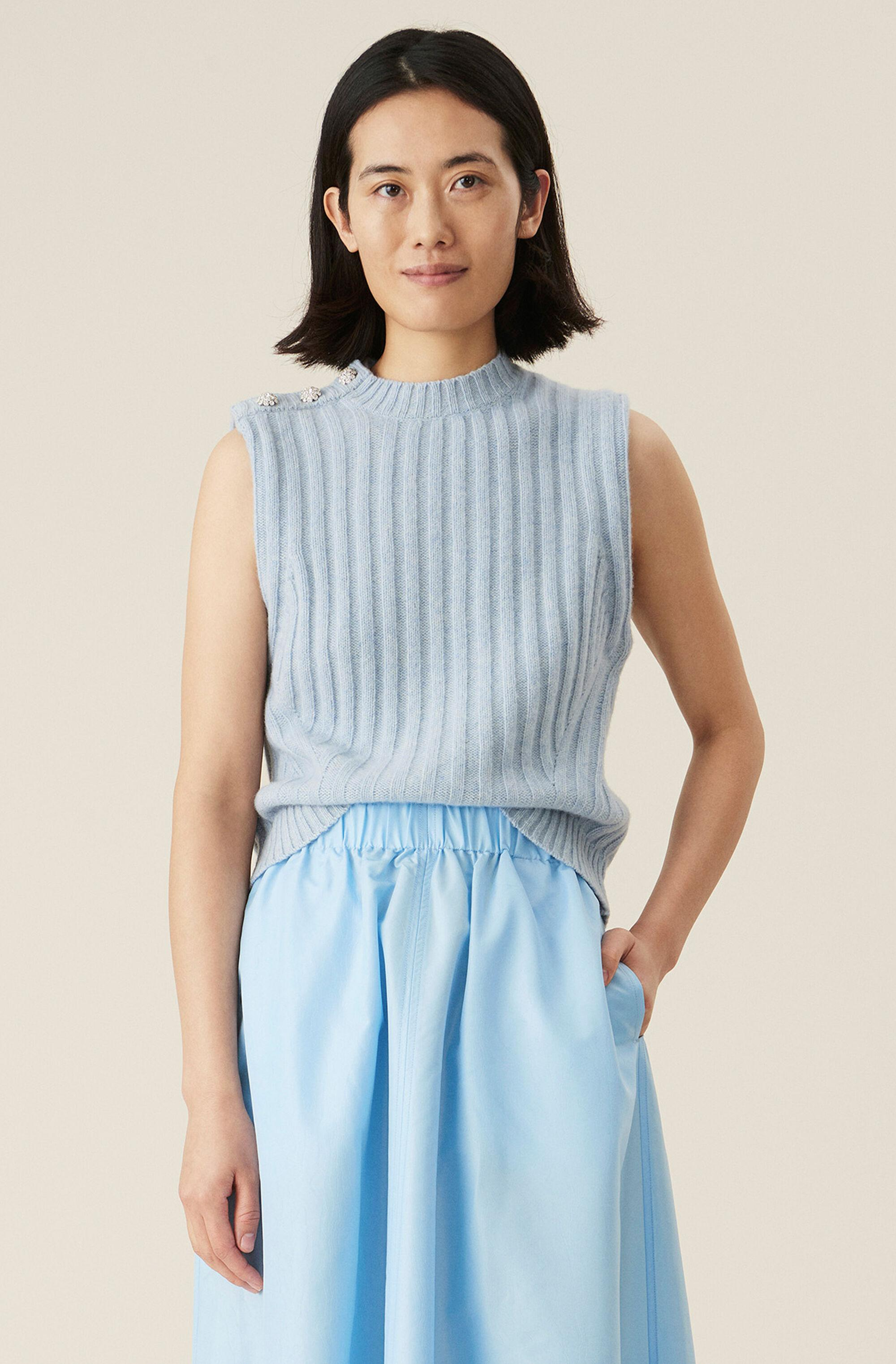 Light Blue Recycled Wool Vest