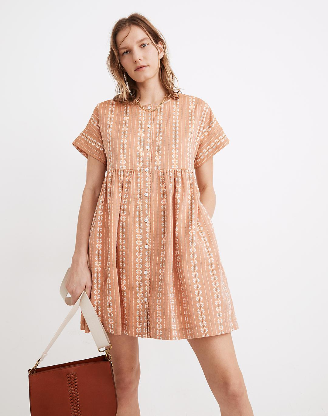 Embroidered Short-Sleeve Button-Front Mini Dress
