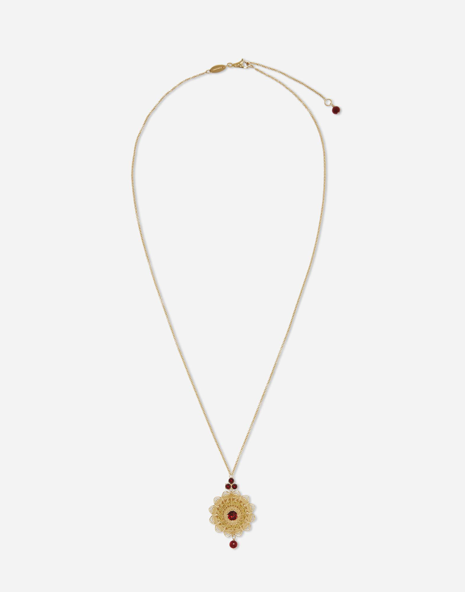 Pizzo pendant in yellow gold and rhodolite garnets