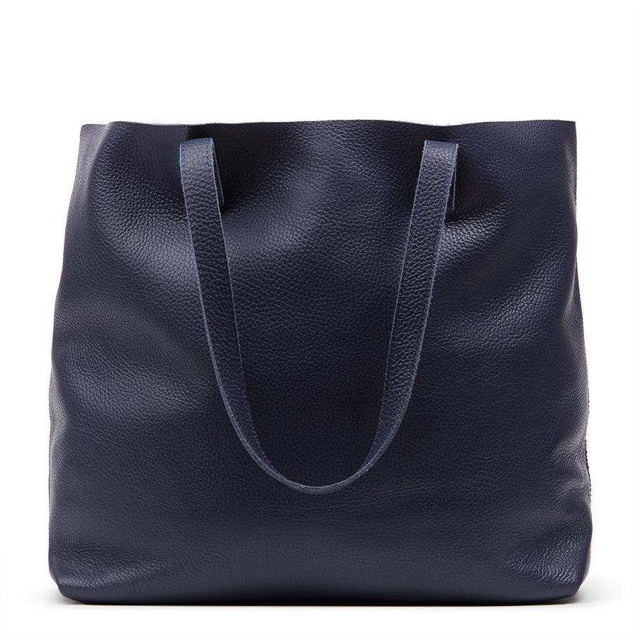 Women's Classic Leather Tote Bag in Navy | Pebbled Leather by Cuyana