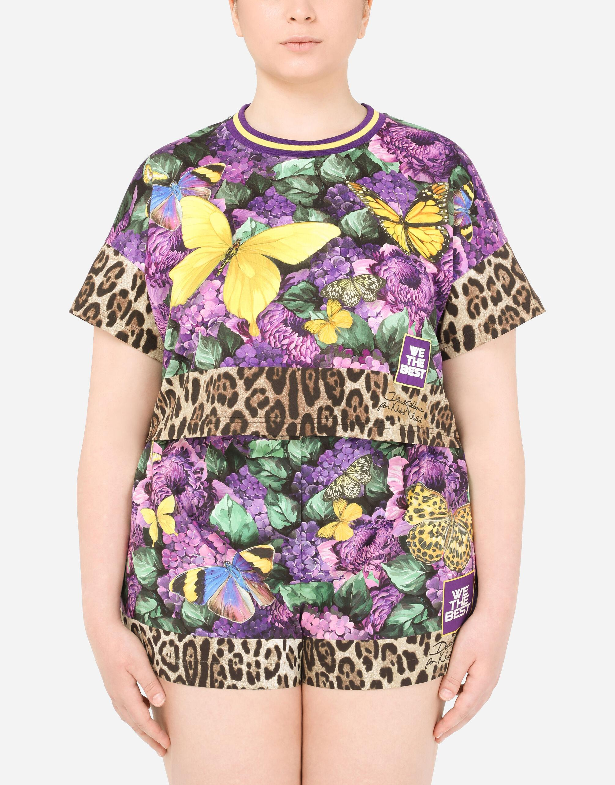 Cropped jersey T-shirt with butterfly print