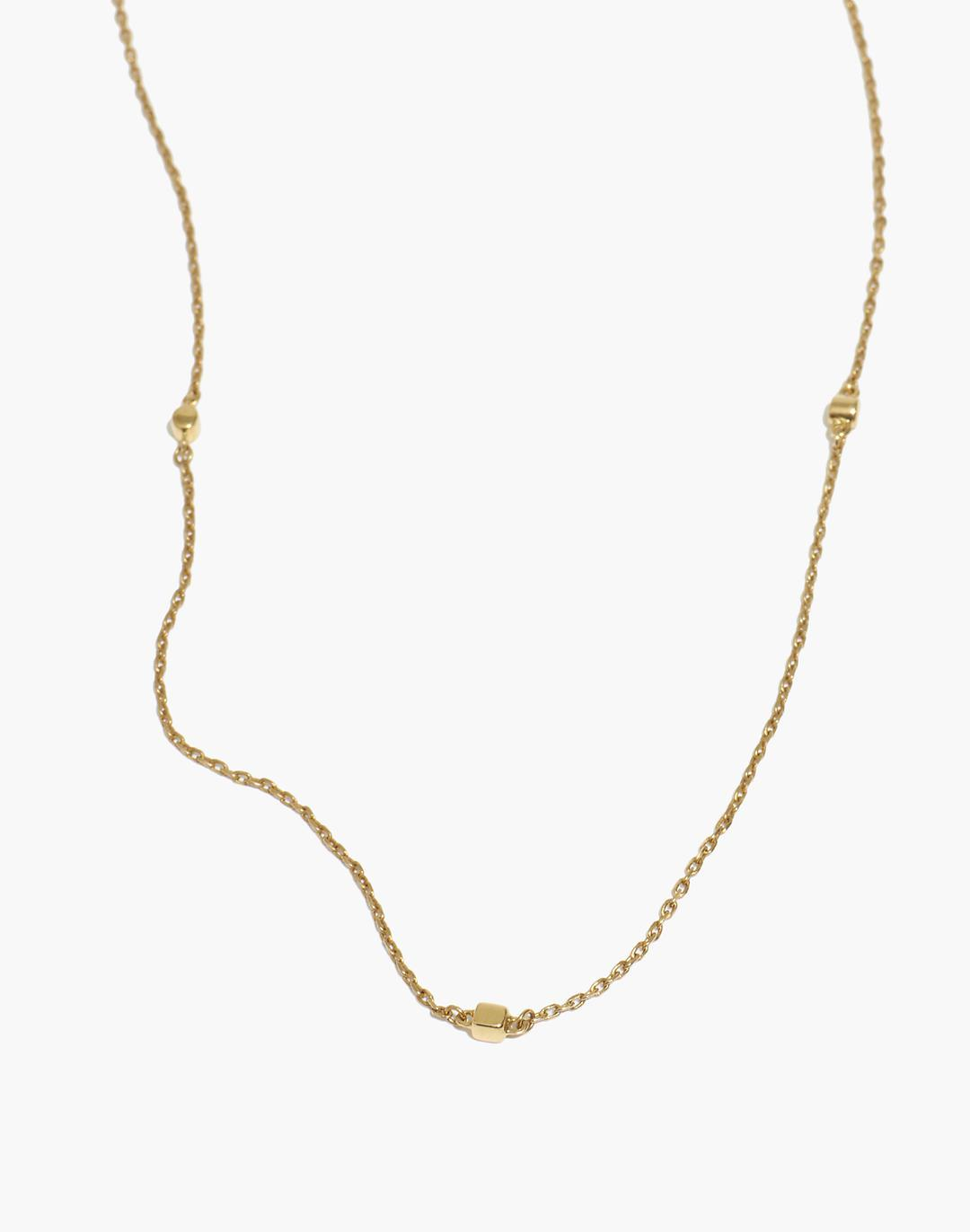 Delicate Collection Demi-Fine 14k Plated Cube Chain Necklace