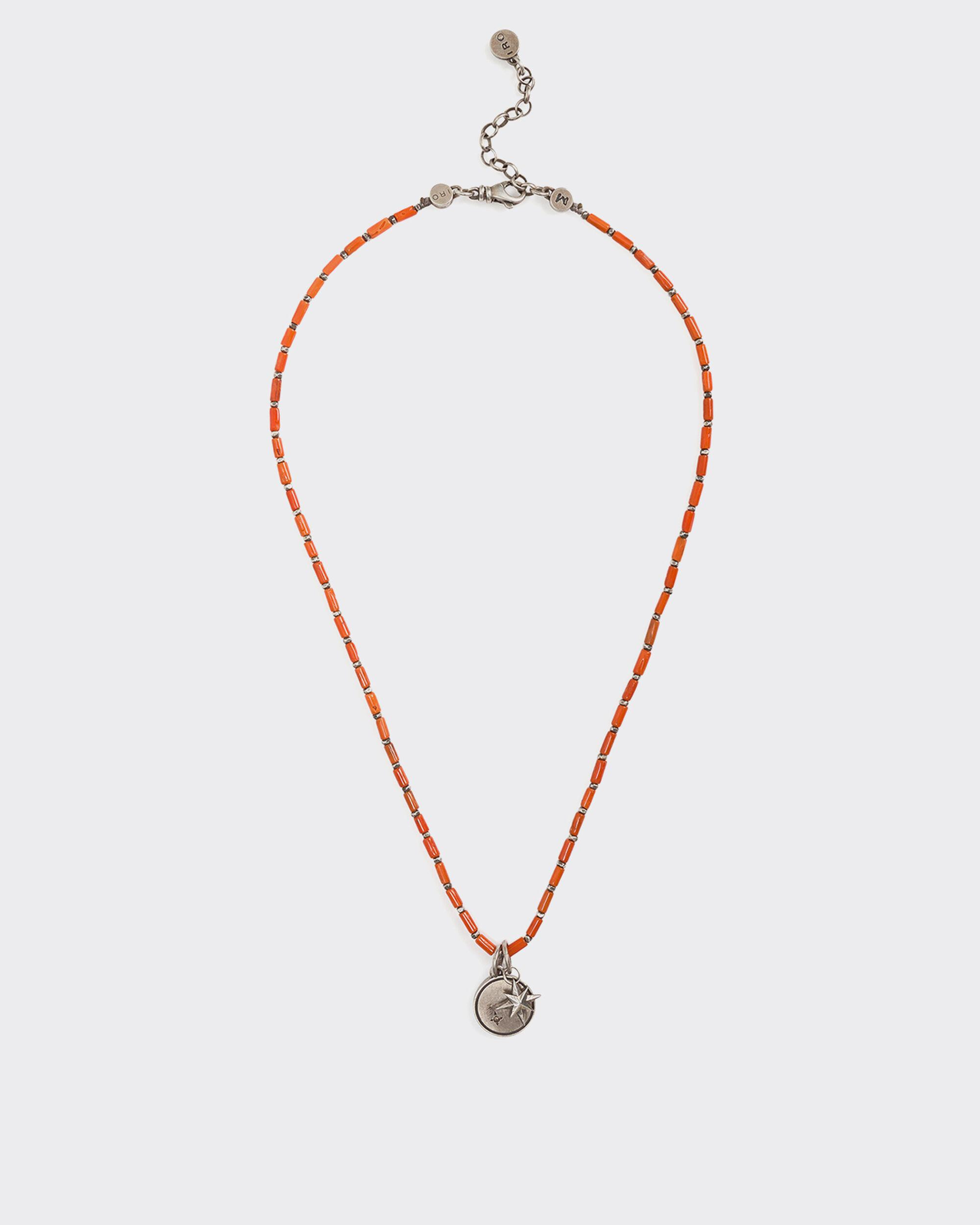 TITANE SILVER AND RED CORAL BEAD NECKLACE