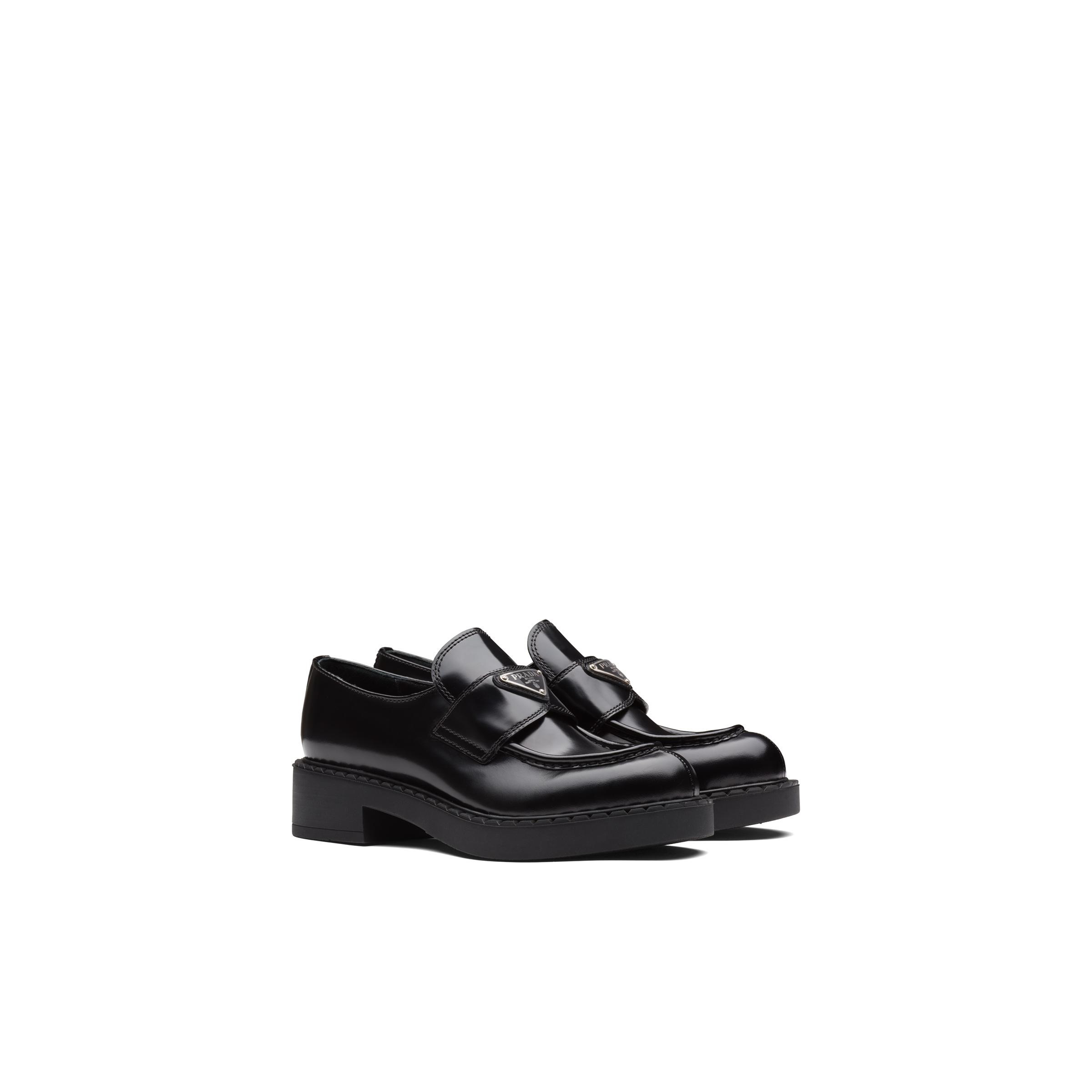 Brushed Leather Loafers Women Black