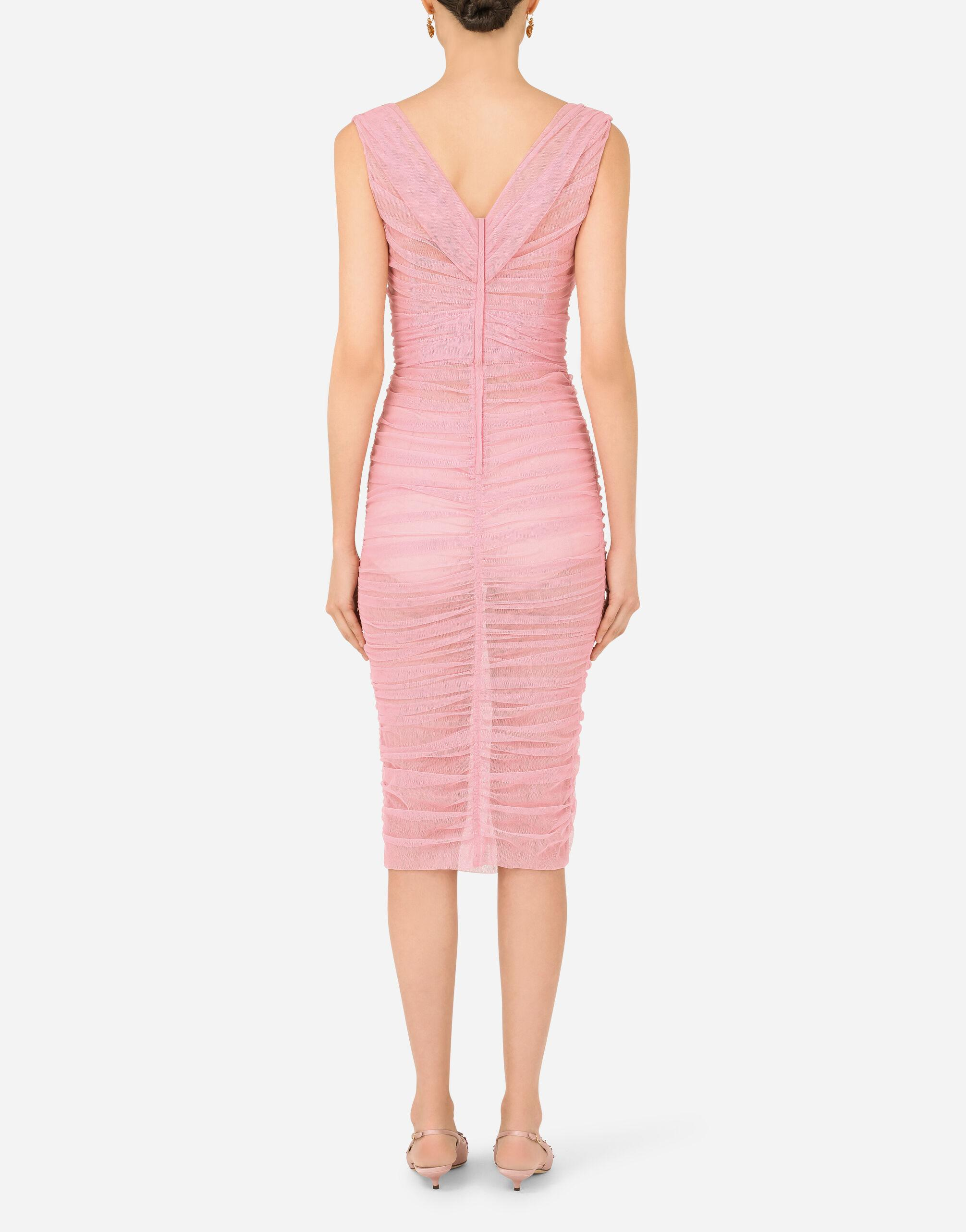 Calf-length draped dress in stretch tulle 1