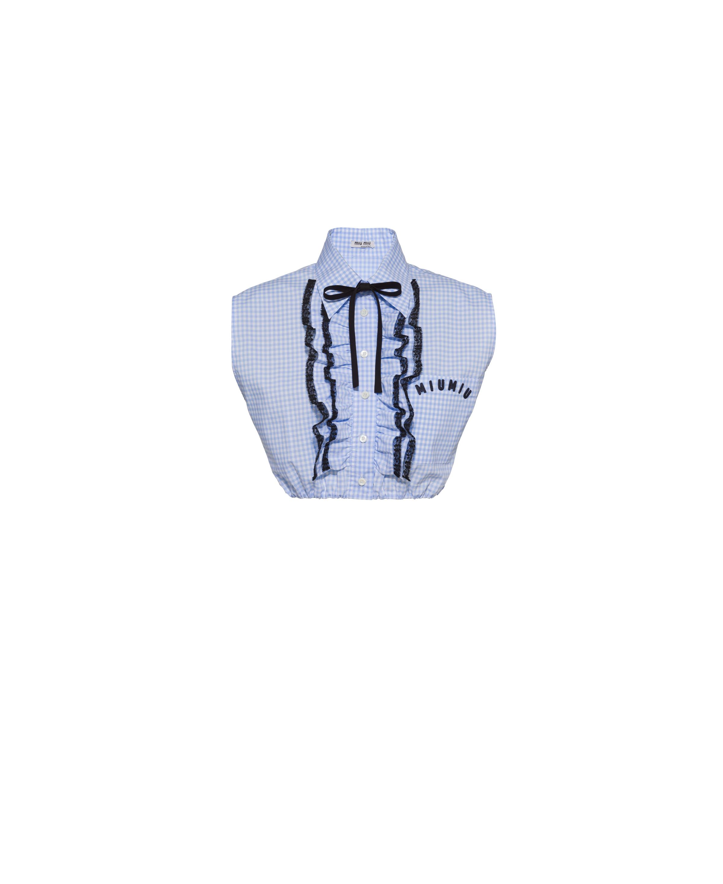 Embroidered Gingham Check Shirt Women Navy
