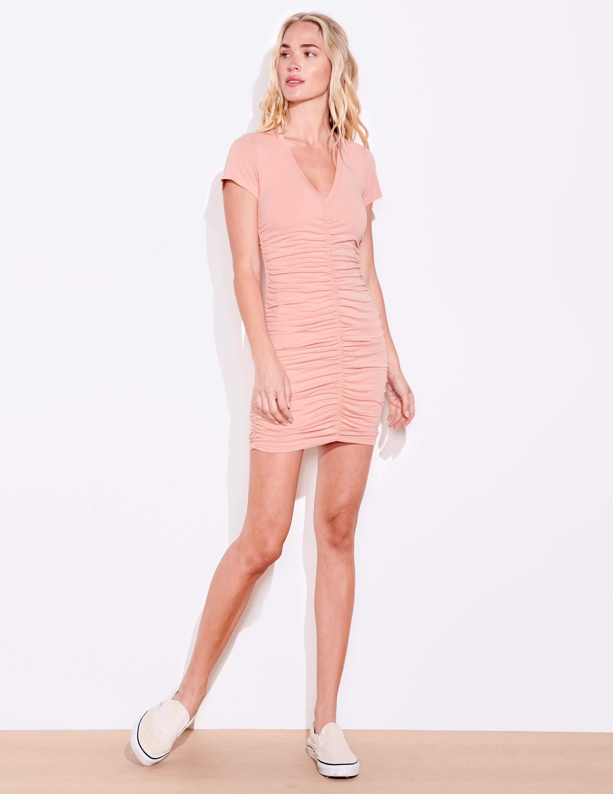 Short Sleeve Ruched Dress 1