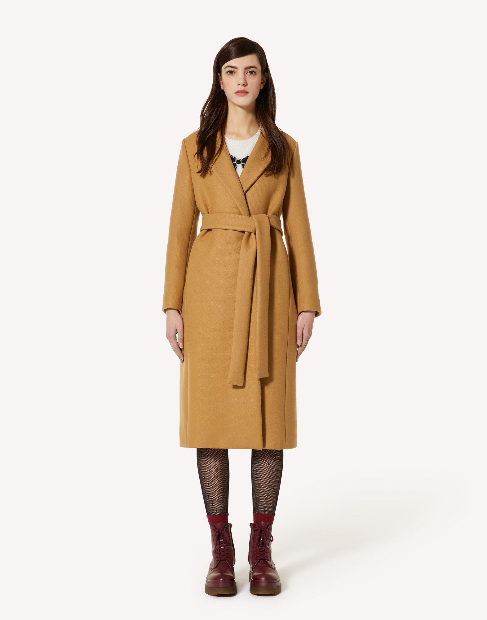 BELTED DOUBLE WOOL-CASHMERE COAT