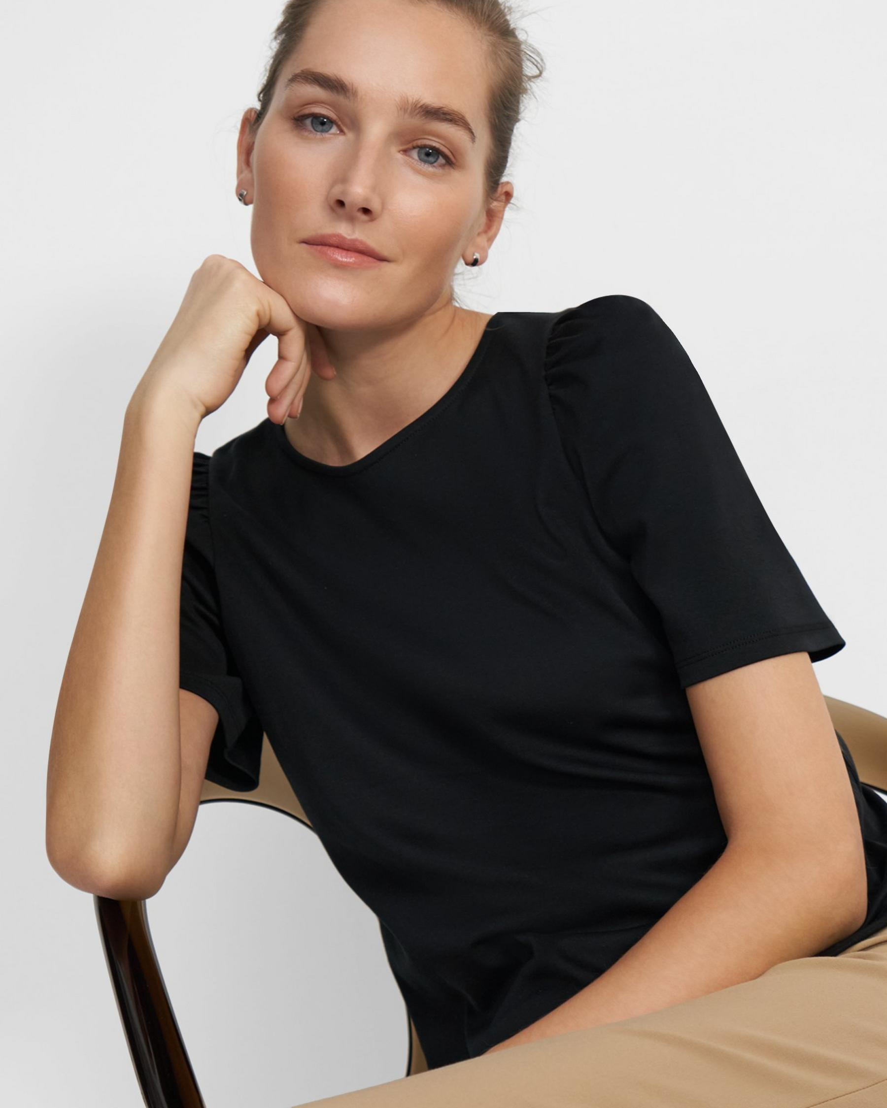Short-Sleeve Ruched Tee in Cotton Jersey 1