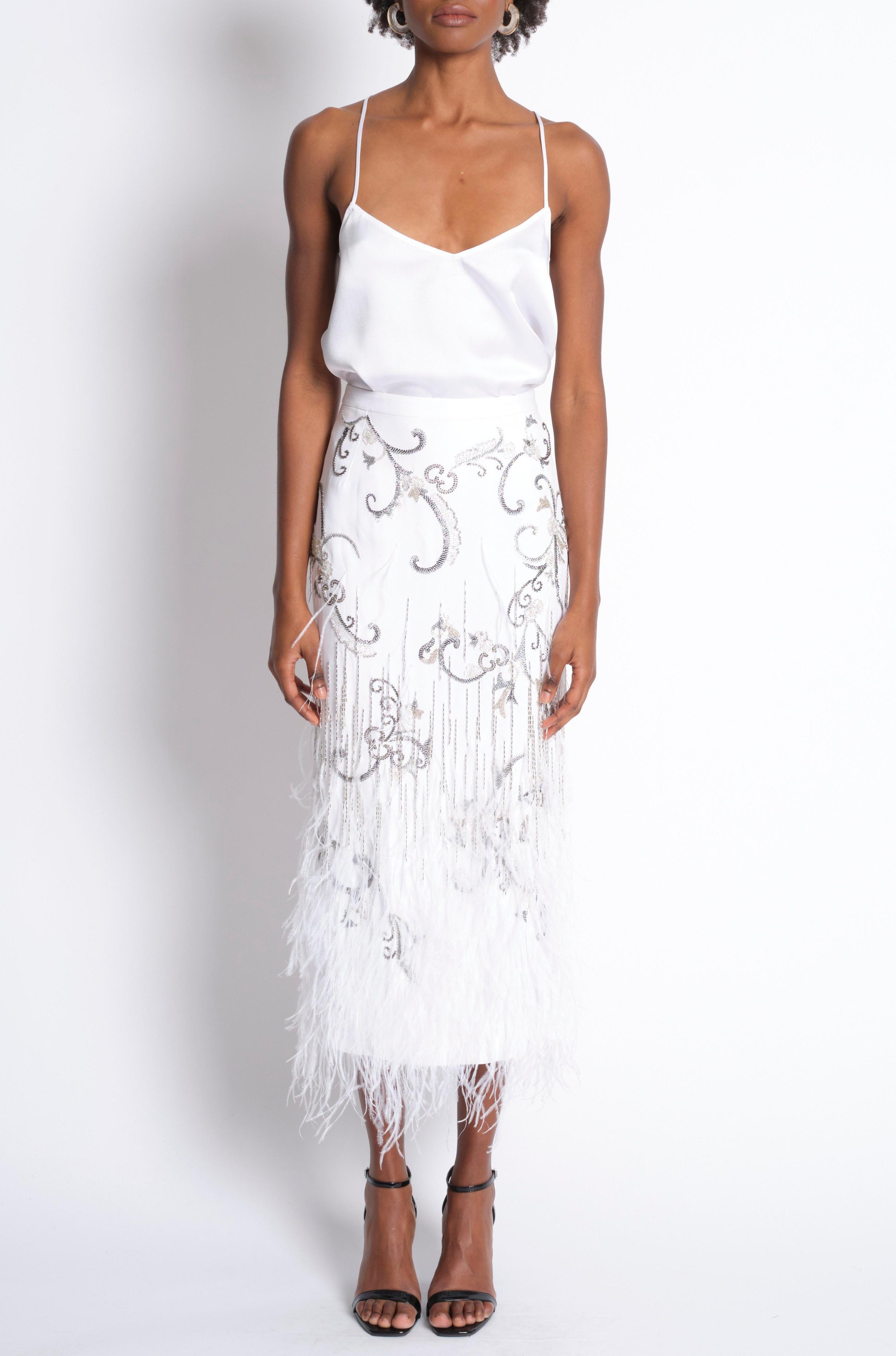 EMBROIDERED FEATHERED PENCIL SKIRT