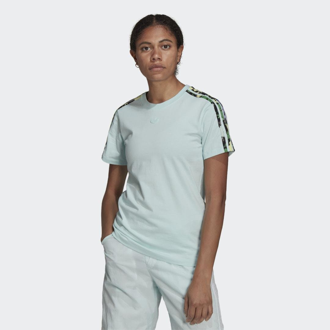 Floral 3-Stripes Tee Halo Mint